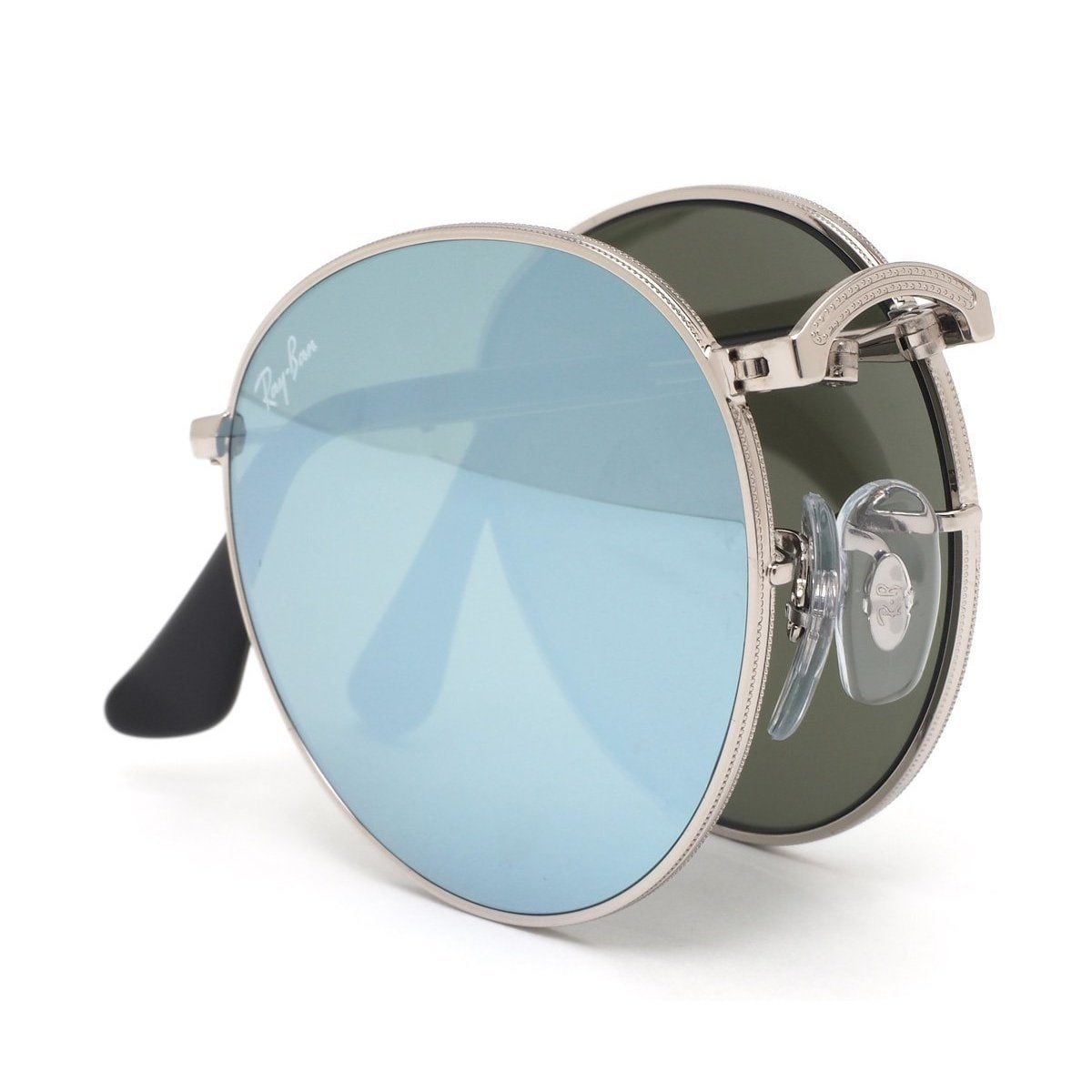72a428d7e11bf Shop Ray-Ban RB3532 003 30 Round Metal Folding Silver Frame Silver Flash  50mm Lens Sunglasses - Free Shipping Today - Overstock - 11884099