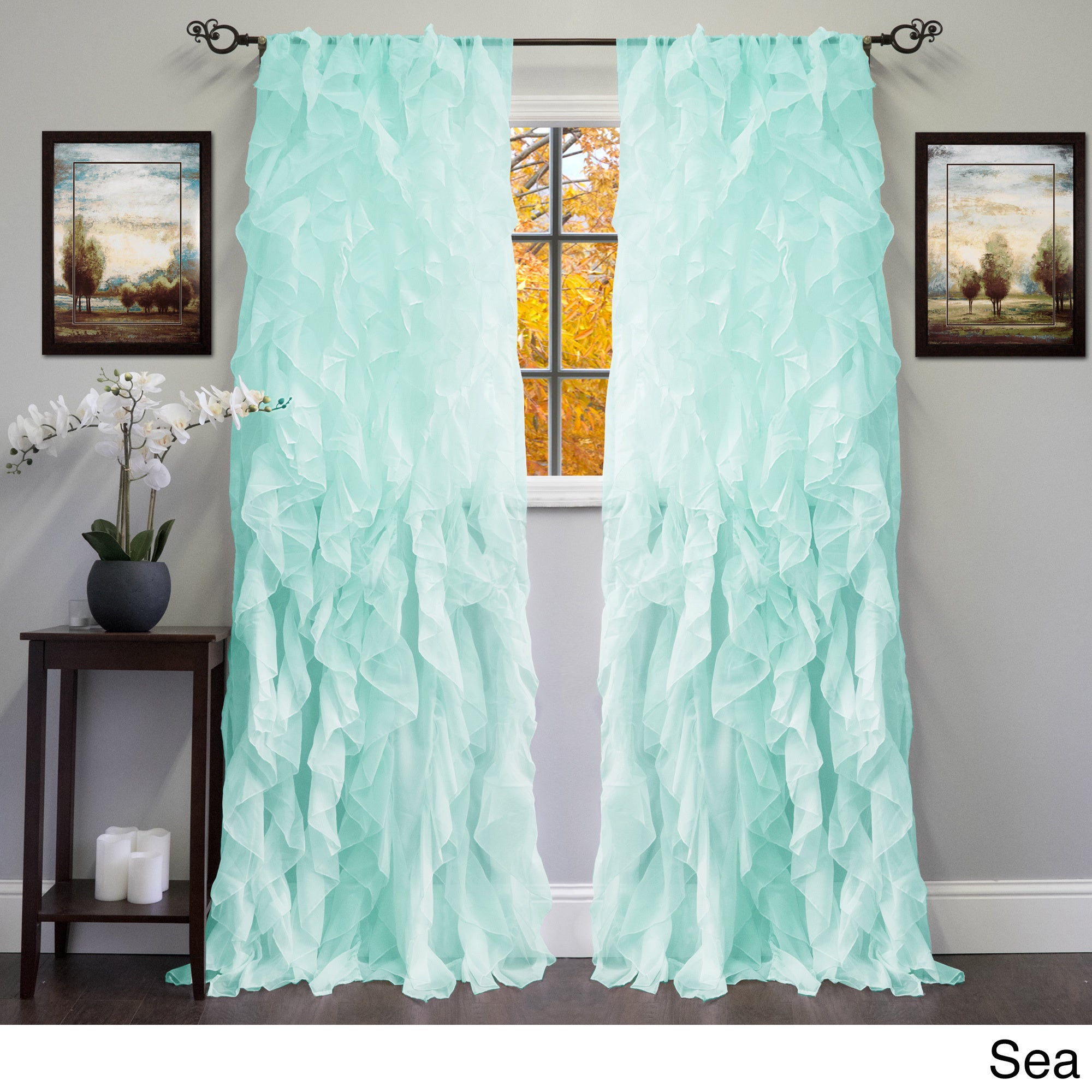 Shop Sheer Voile Ruffled Tier Window Curtain Panel - 50 x 84 - On ...