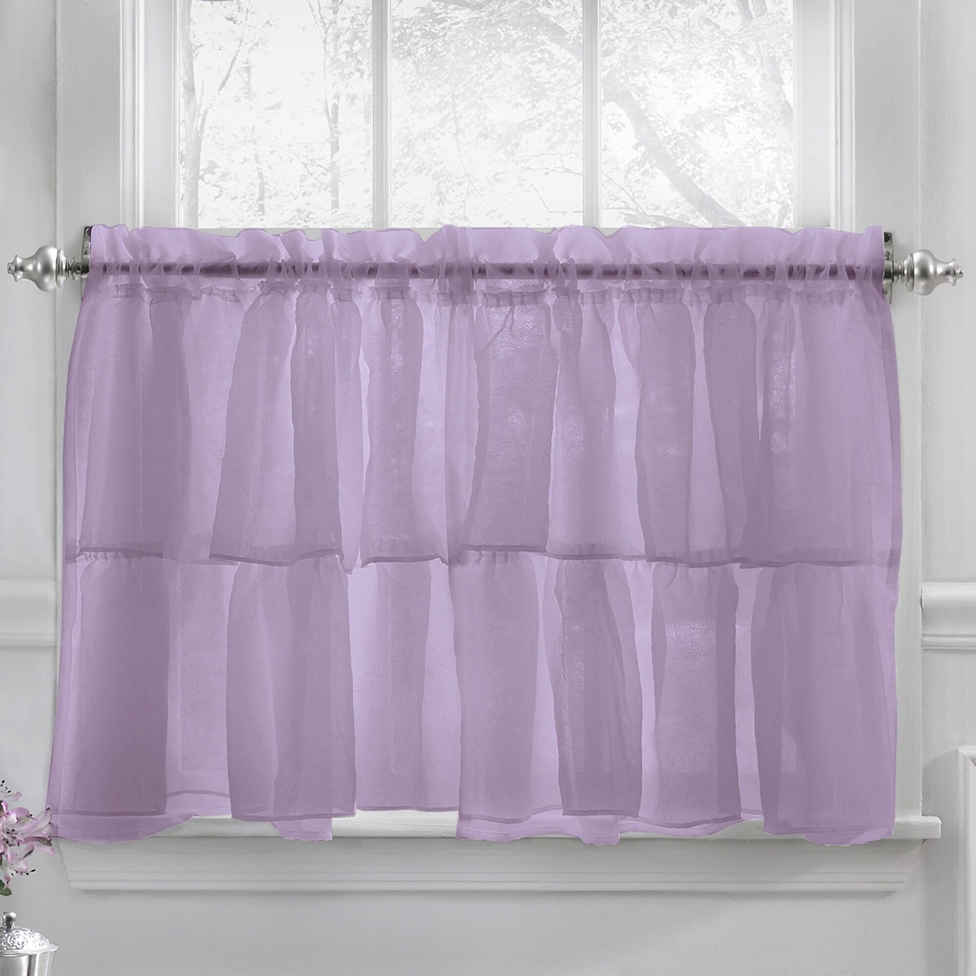 Elegant Crushed Voile Ruffle Blue/White/Pink/Purple/Beige Window ...