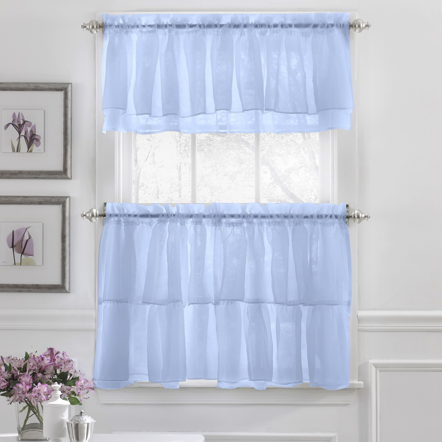 Crushed Voile Ruffle Window Curtain Separates - Free Shipping On ...