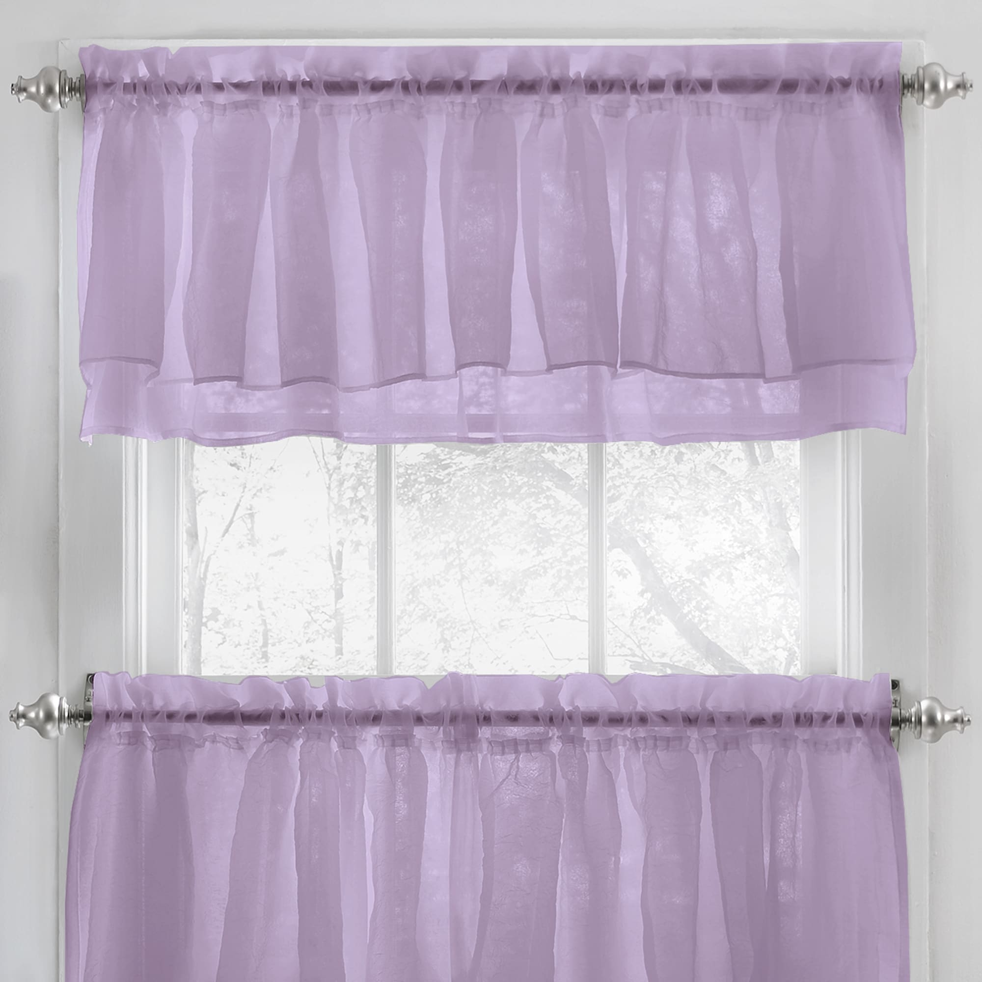 wonderful Pink And Purple Curtain Part - 13: Shop Elegant Crushed Voile Ruffle Blue-White-Pink-Purple-Beige Window  Curtain Pieces With Optional Valance and Tiers - On Sale - Free Shipping On  Orders ...