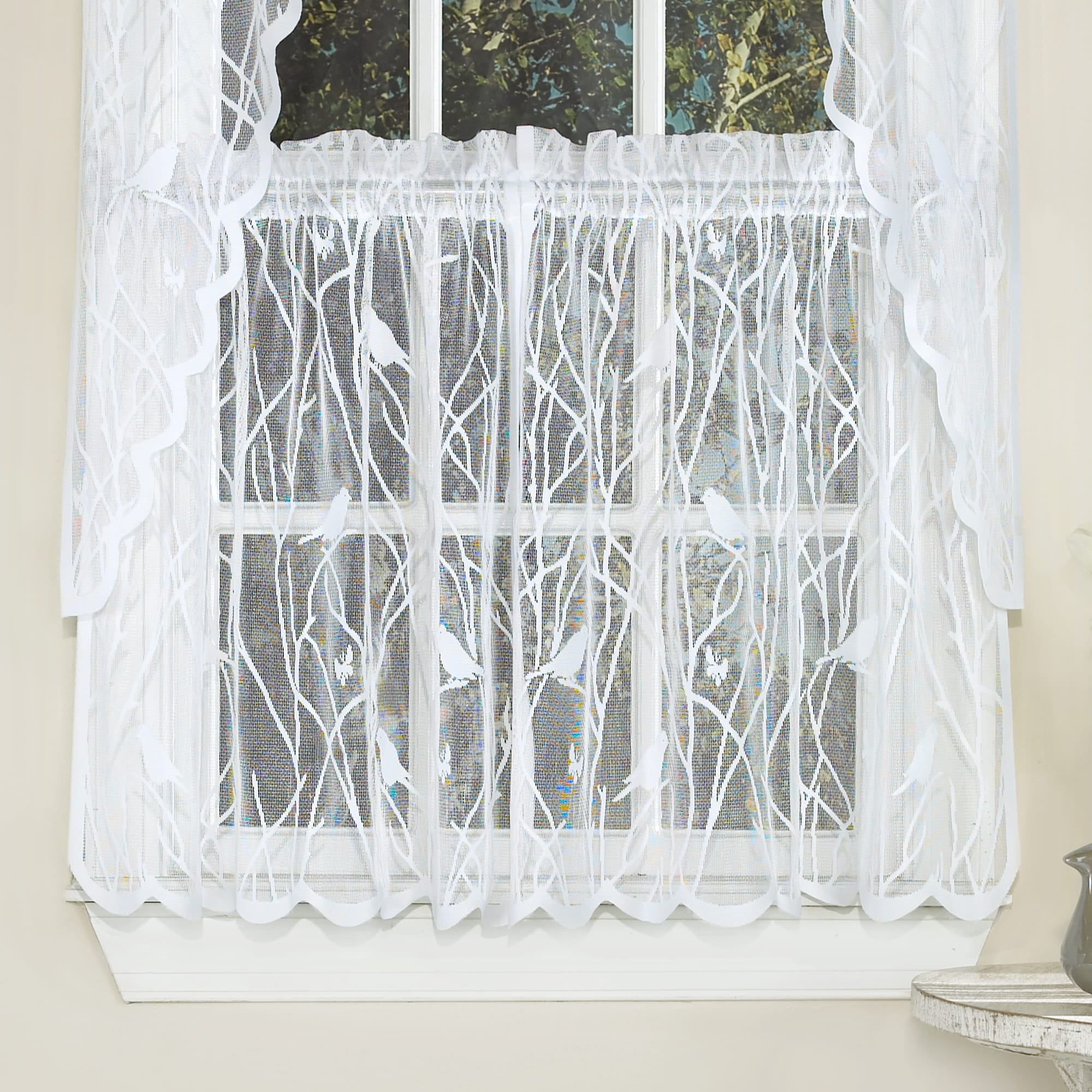 Shop White Knit Lace Bird Motif Window Curtain Tiers Valance And Swag Pair Options