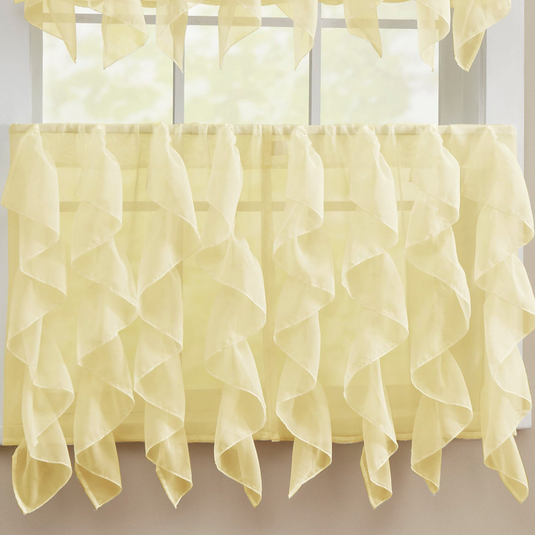 Popular Chic Sheer Voile Vertical Ruffled Tier Window Curtain Valance and  PQ89