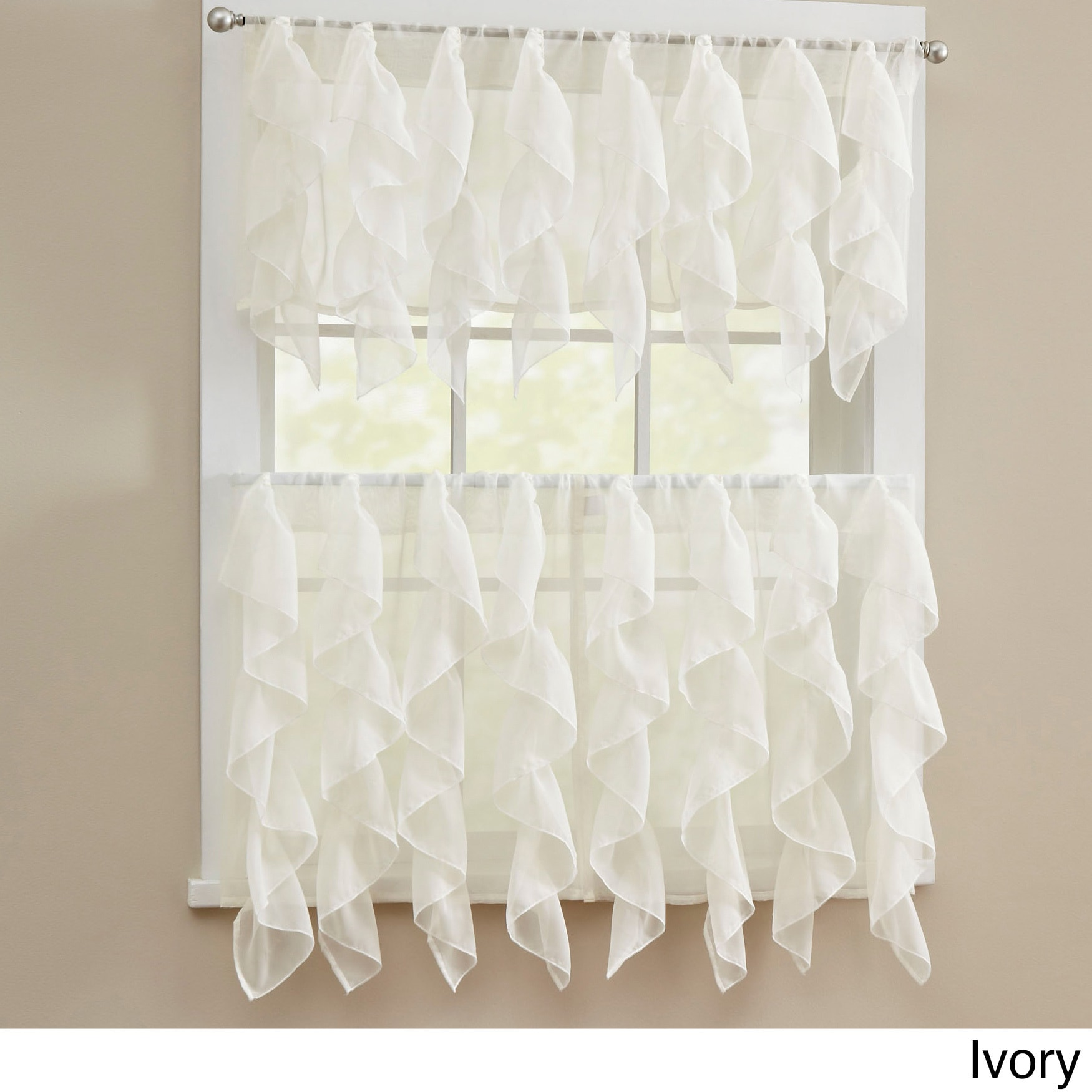 Shop Chic Sheer Voile Vertical Ruffled Tier Window Curtain Valance Or