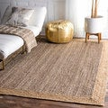 nuLOOM Alexa Eco Natural Fiber Braided Reversible Border Grey Jute Rug (5' x 8')