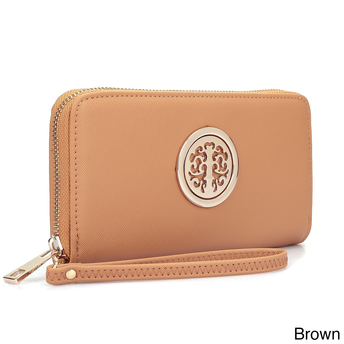 17fc8263615a Shop Dasein Zip Around Emblem Wallet - Free Shipping On Orders Over  45 -  Overstock - 11891747