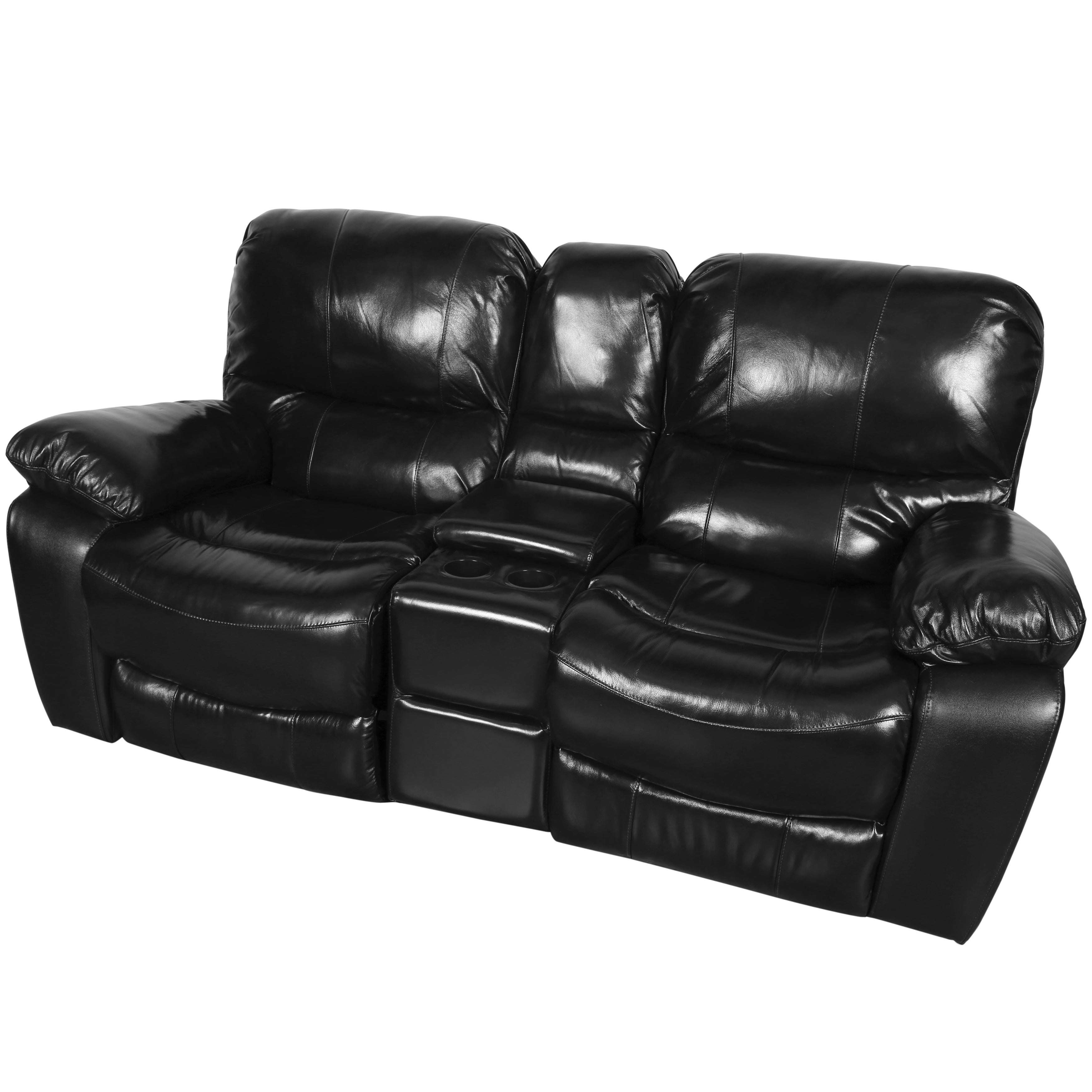 Porter Ramsey Black Cherry Top Grain Leather Gliding Reclining Loveseat With Center Console On Free Shipping Today 11893561
