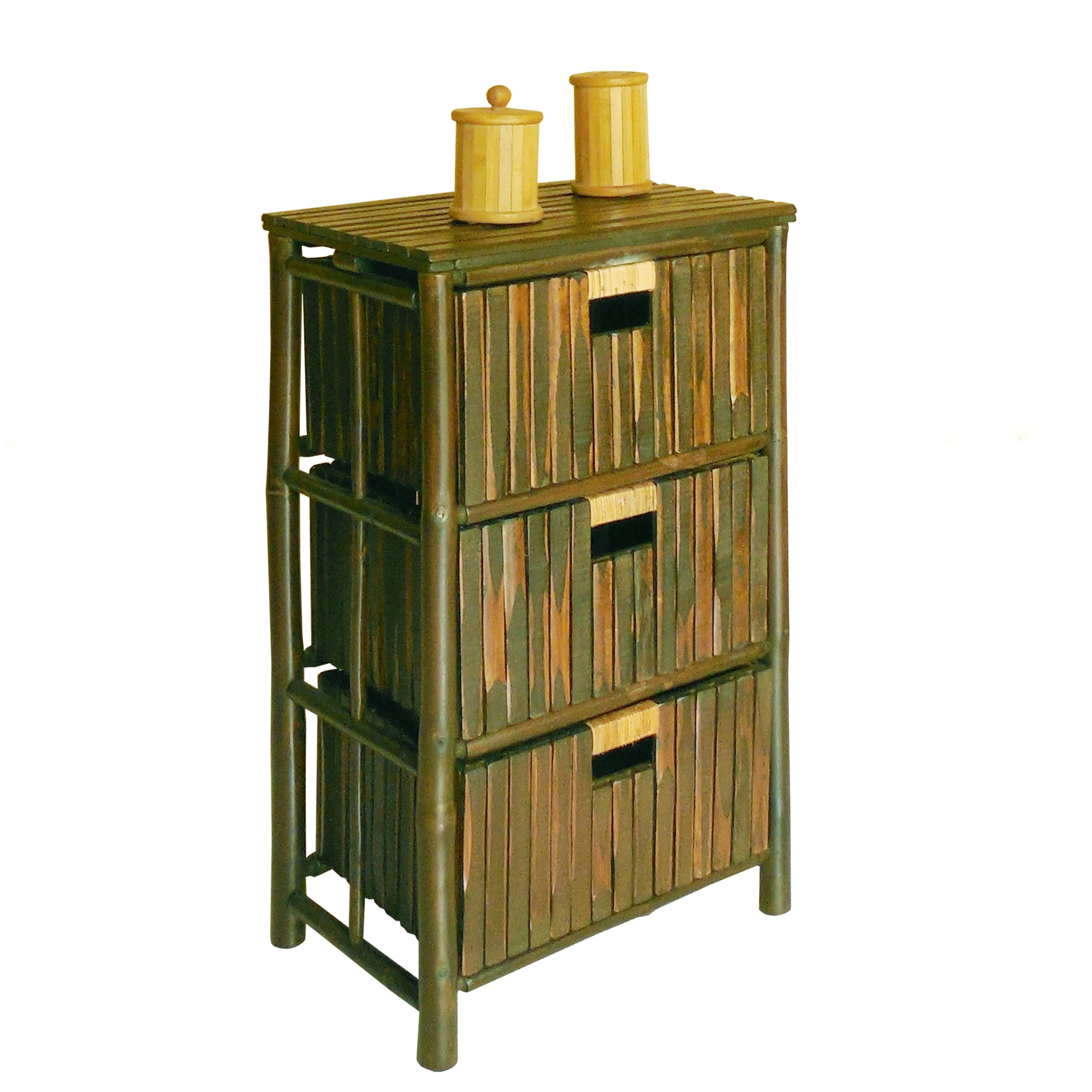 Shop zew espresso bamboo 3 drawer handcrafted storage cabinet free shipping today overstock com 11893799