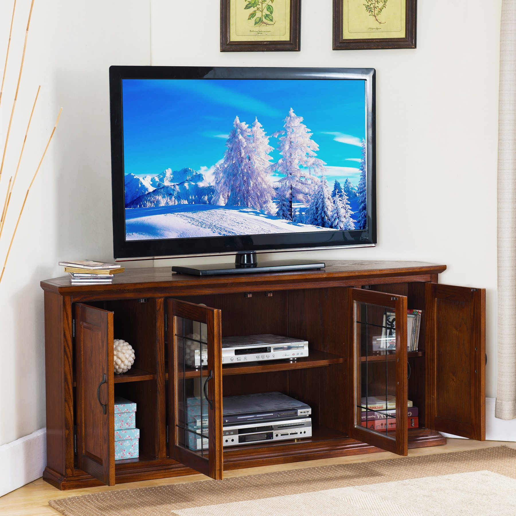 Burnished Oak Finish Wood And Leaded Gl 56 Inch Corner Tv Stand Free Shipping Today 20603764