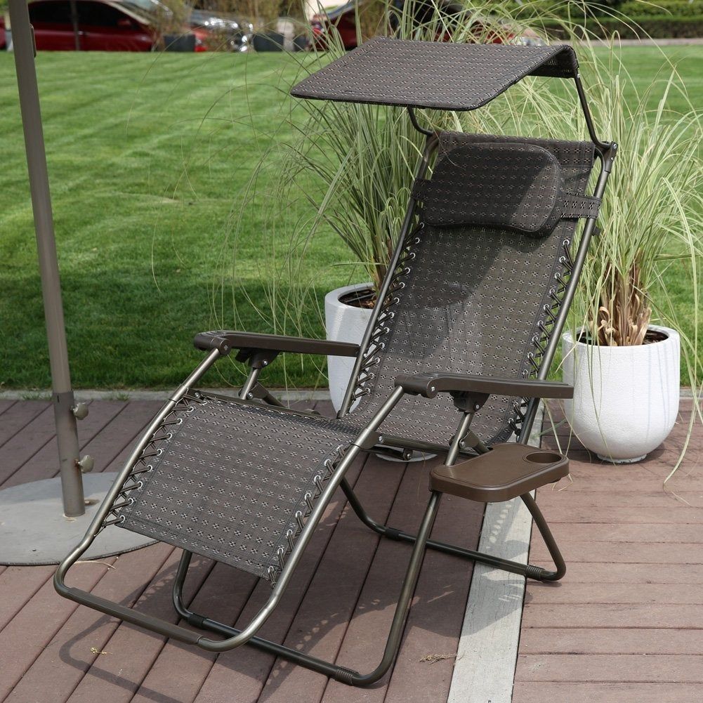 Shop Abba Patio Oversized Zero Gravity Recliner Patio Lounge Chair With  Sunshade And Drink Tray   Free Shipping Today   Overstock.com   11896204