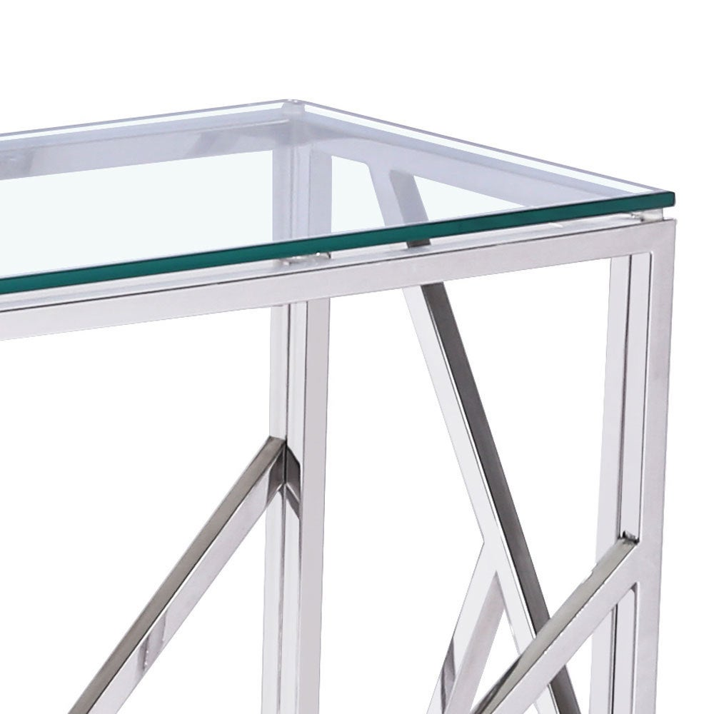 Shop Calypso Metal And Glass Rectangle Console Table   Free Shipping Today    Overstock.com   11896513