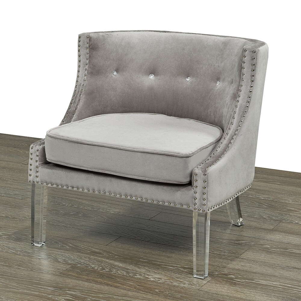 Shop velvet upholstered acrylic dining room chair free shipping today overstock com 11896548