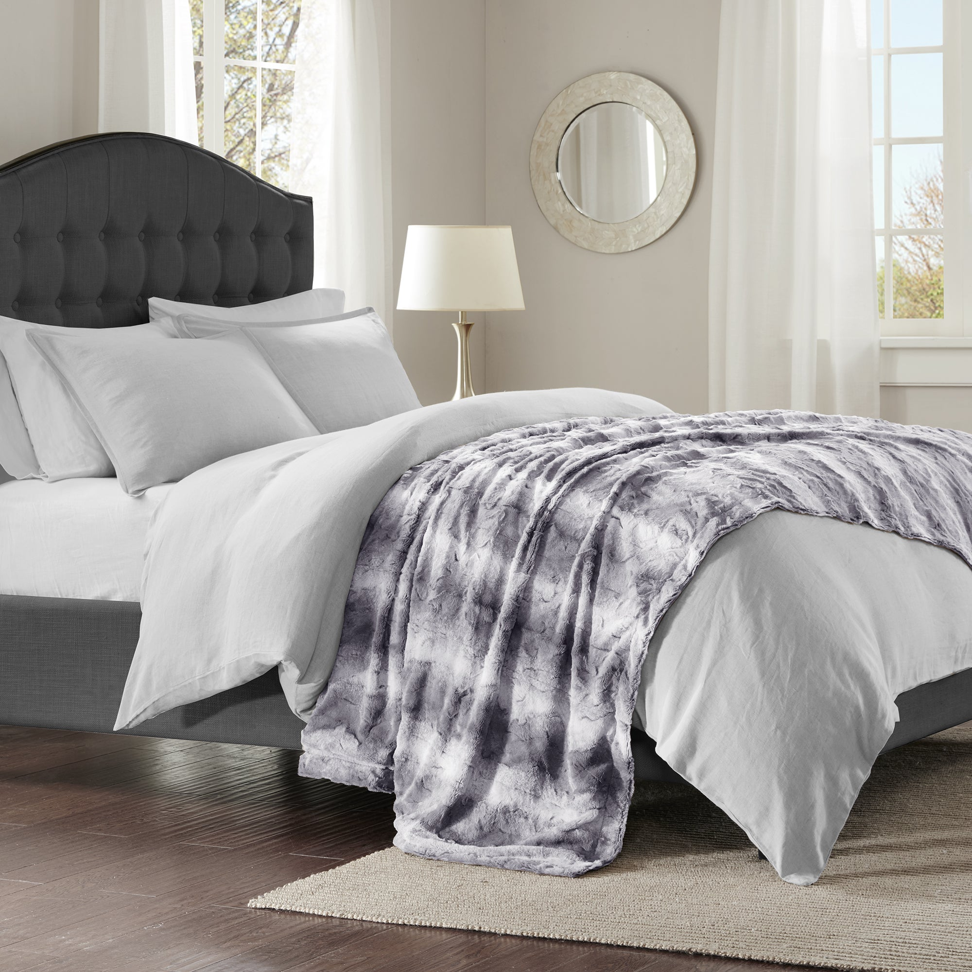 Madison Park Marselle Faux Fur Oversized Bed Throw Free Shipping