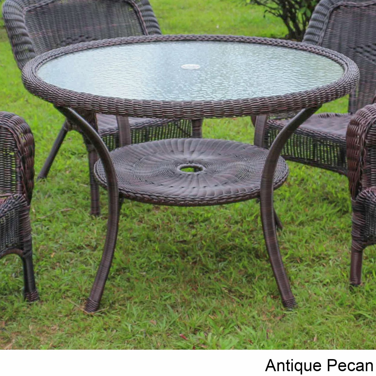 International Caravan Maui Resin Wicker Steel Outdoor Dining Table Free Shipping Today 18791863