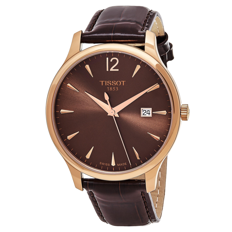 96e3669e198 Tissot Men s  Tradition  Brown Dial Brown Leather Strap Rose Goldtone Swiss  Quartz Watch