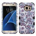 Insten Purple/ White European Flowers Tuff Hard PC/ Silicone Dual Layer Hybrid Case Cover For Samsung Galaxy S7 Edge