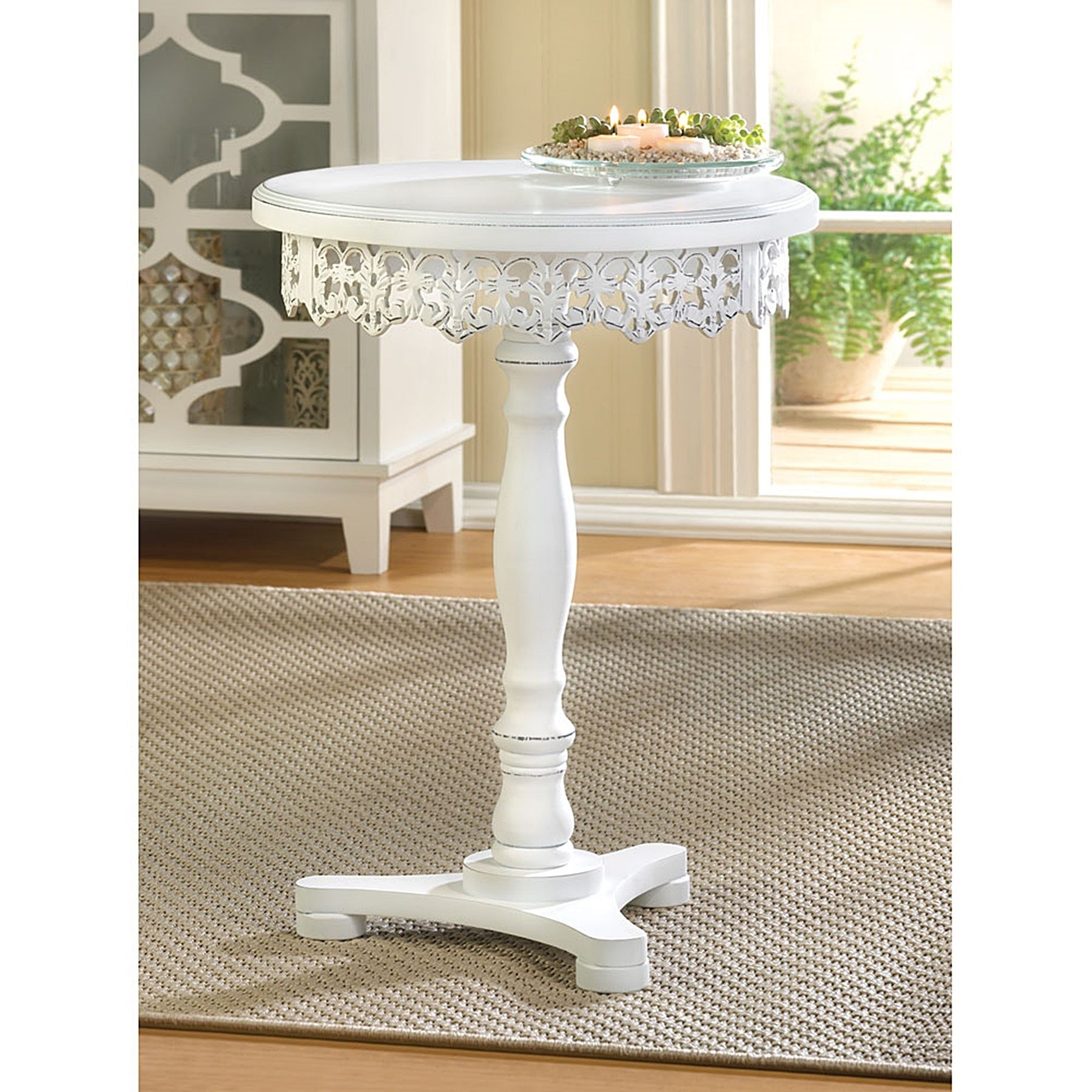 Shop Lacy Antique White Finish Wooden Round Side Table On Sale