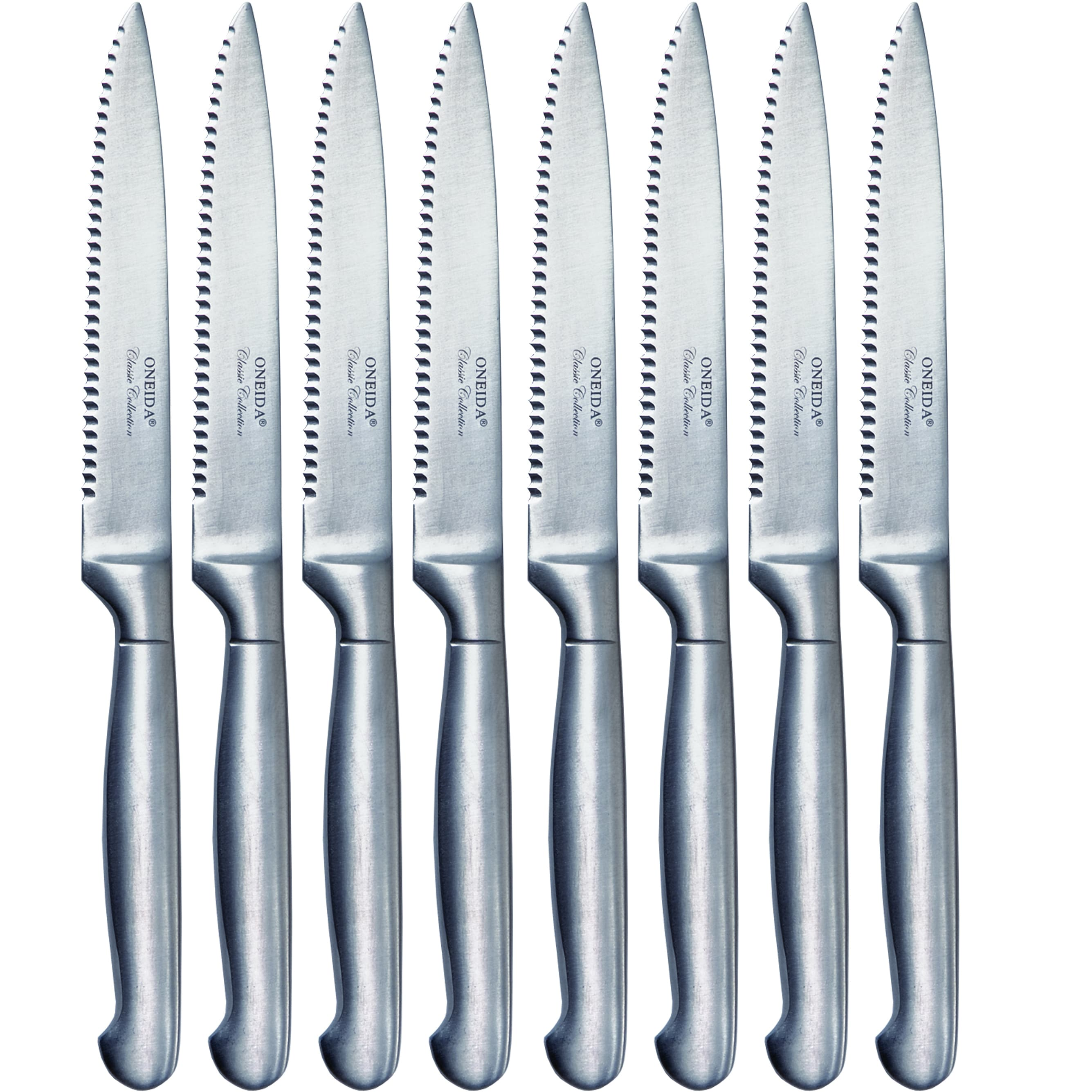 Oneida 8-piece Silver Stainless Steel Steak Knife Set - Free ...