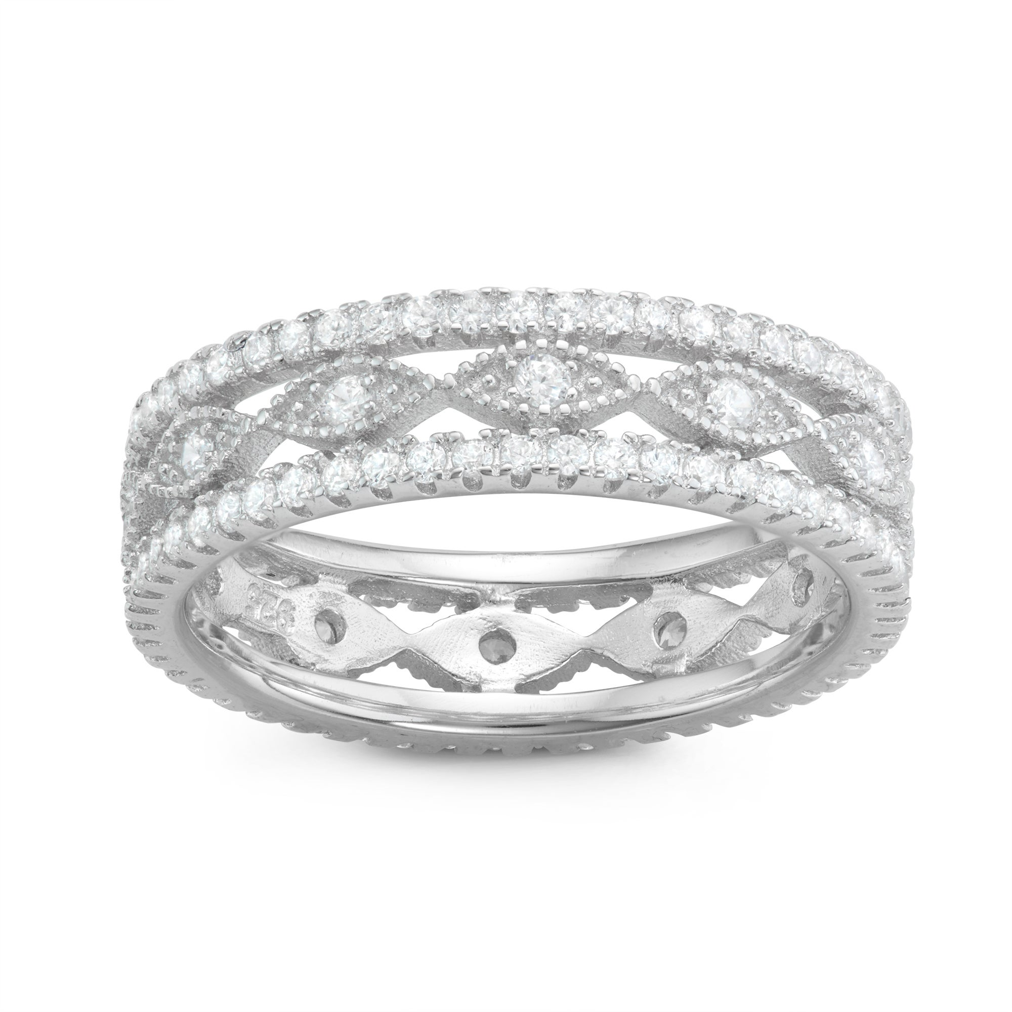 7906060400e19 Gioelli Sterling Silver Cubic Zirconia Filigree Band Ring