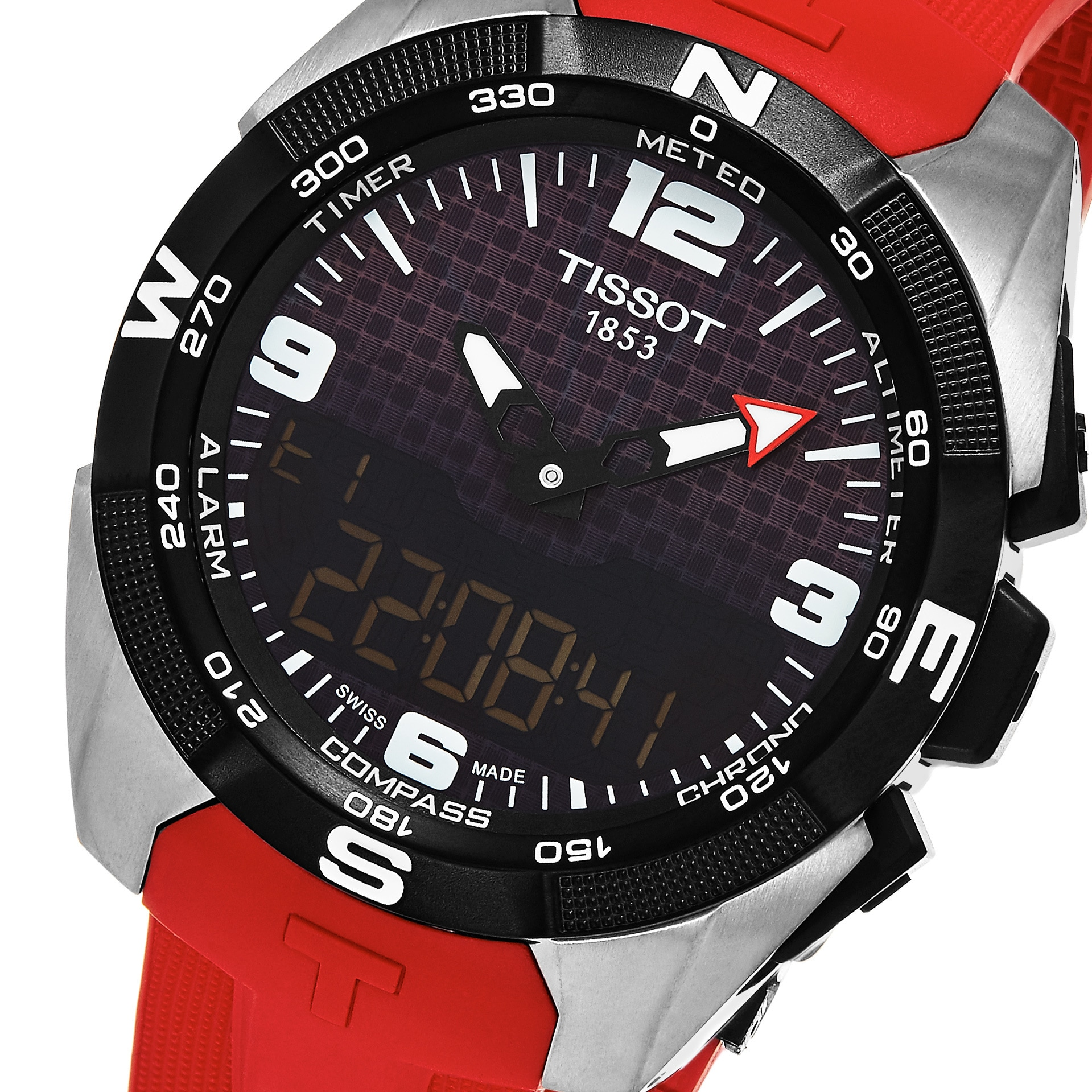 ef4662d02a5 Shop Tissot Men s T0914204705700  T Touch Expert  Black Dial Red Rubber  Strap Swiss Quartz Watch - Free Shipping Today - Overstock - 11902691