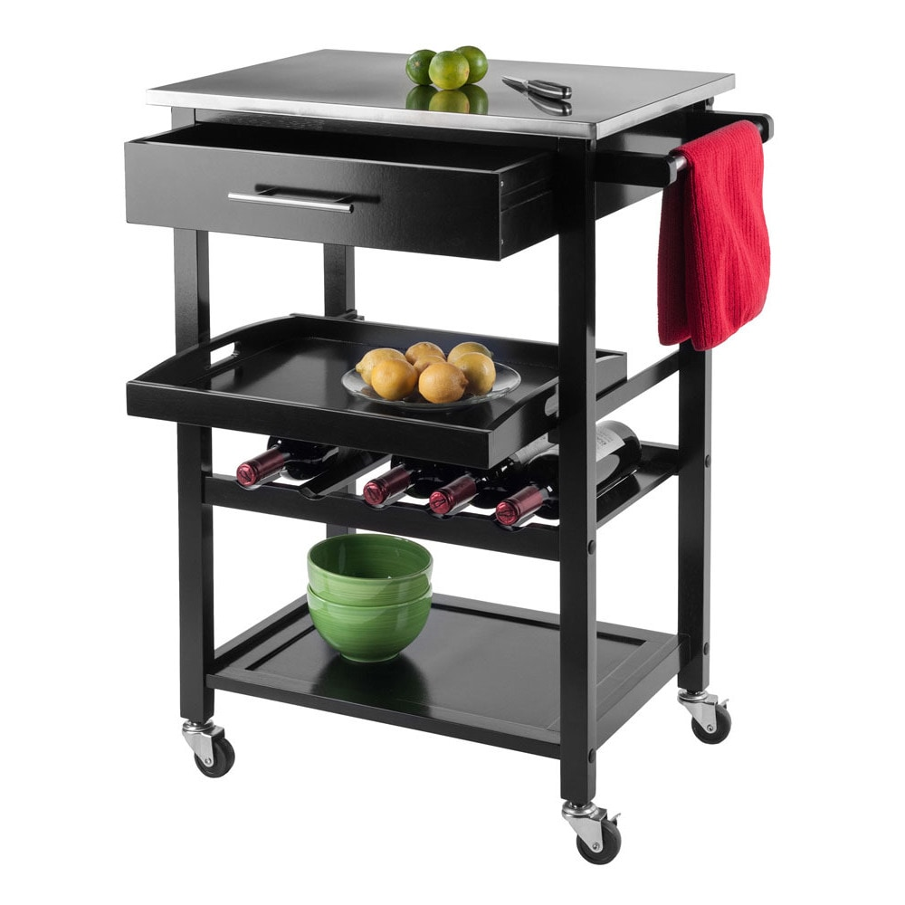 Shop Winsome Anthony Stainless Steel Storage Kitchen Cart   N/A   On Sale    Free Shipping Today   Overstock.com   11903929