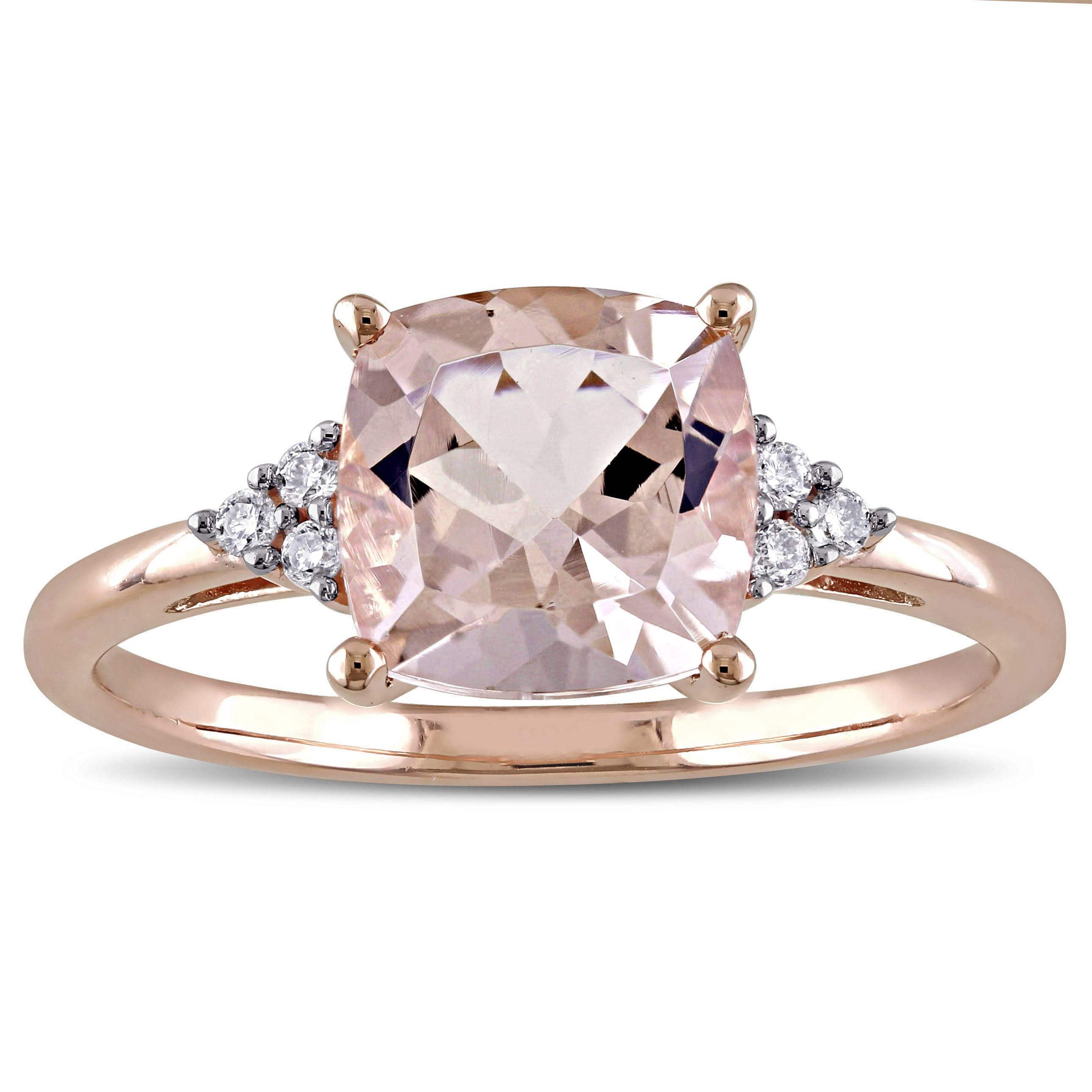 Miadora Signature Collection 14k Rose Gold Cushion Cut Morganite And Diamond Accent Cocktail Ring