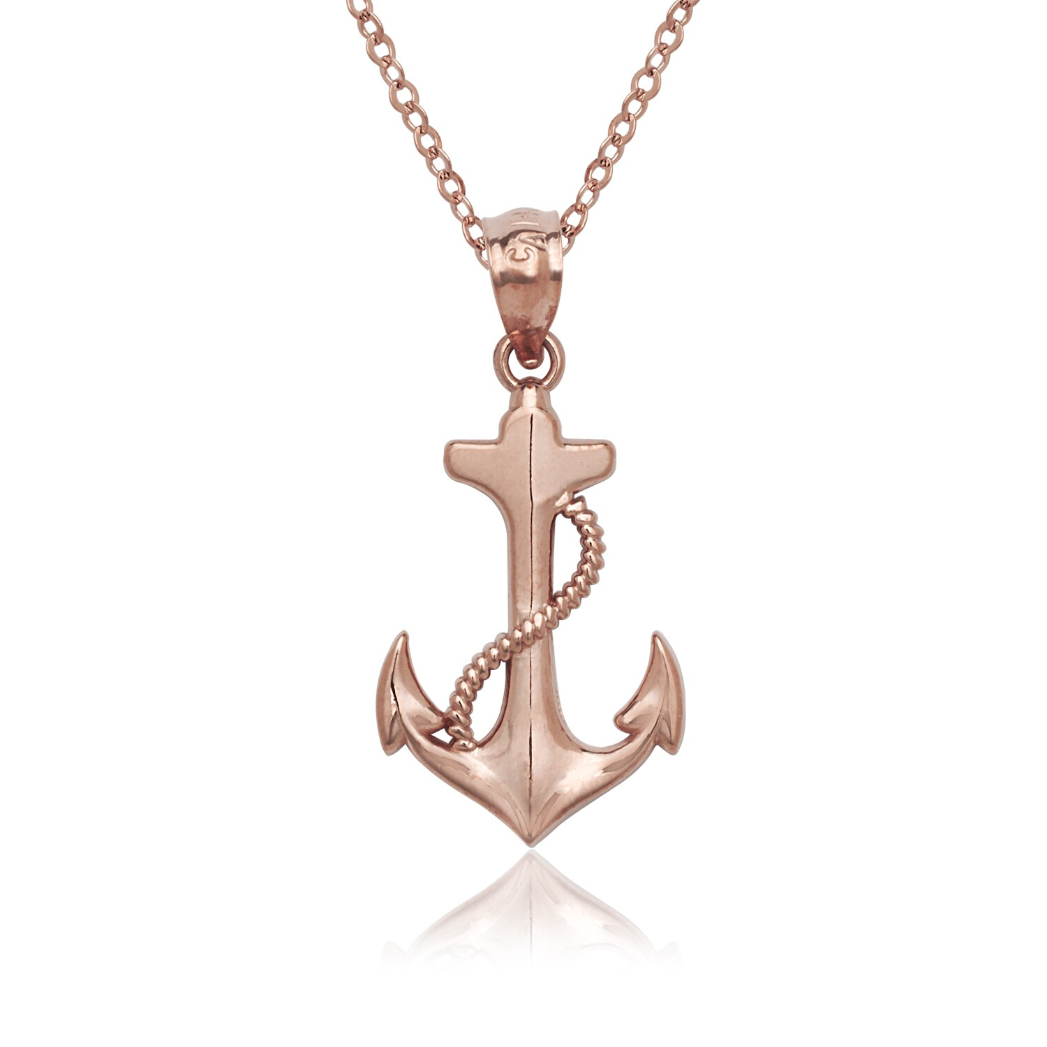 Shop 14k rose gold anchor pendant necklace pink free shipping shop 14k rose gold anchor pendant necklace pink free shipping today overstock 11909857 aloadofball Gallery