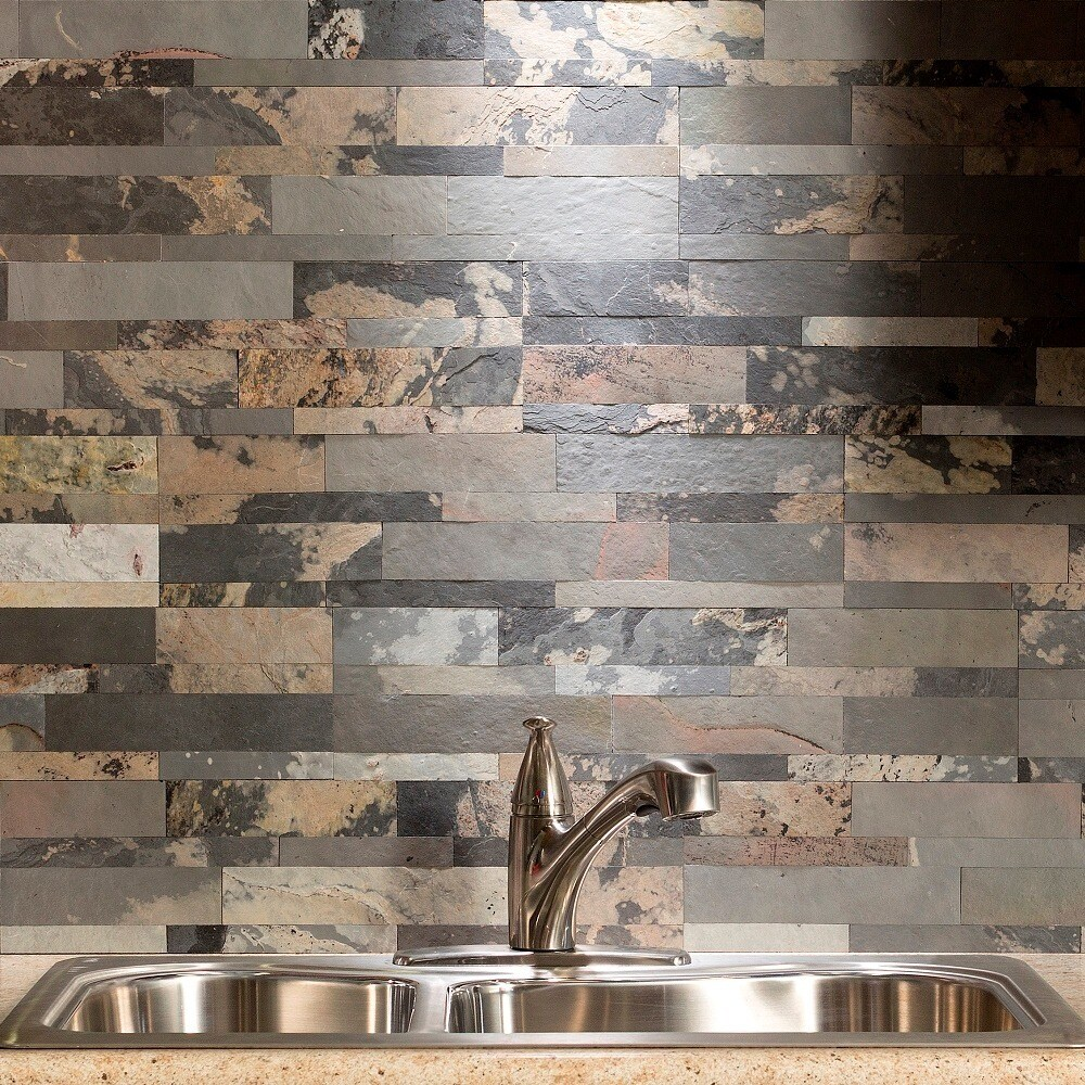 Shop aspect 6 x 24 inch medley slate peel and stick stone backsplash free shipping on orders over 45 overstock com 11910786