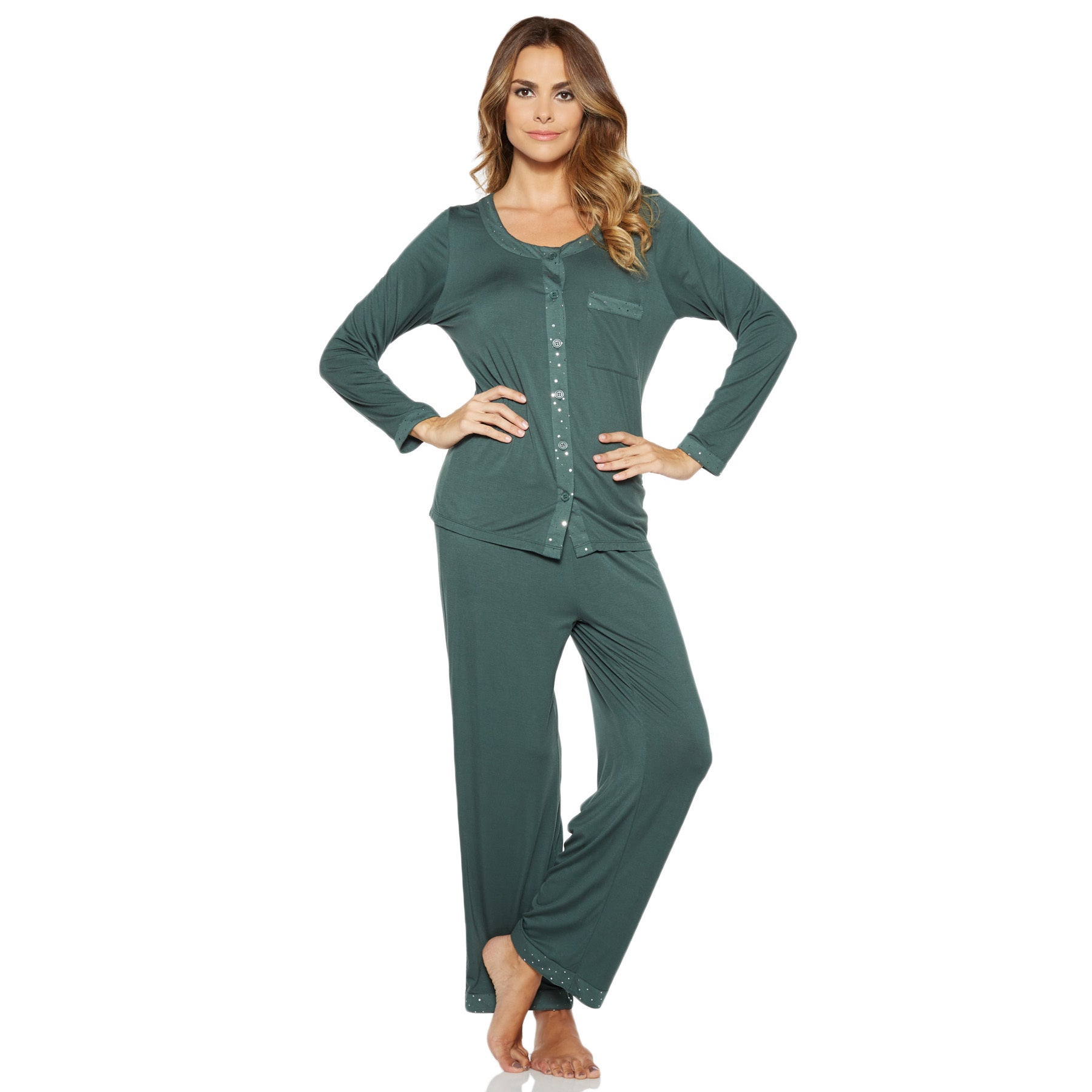 f27241b77d Shop Rhonda Shear Women s Shimmery Pajama Set with Sparkle Accents (S-3X) -  Free Shipping On Orders Over  45 - Overstock - 11914863