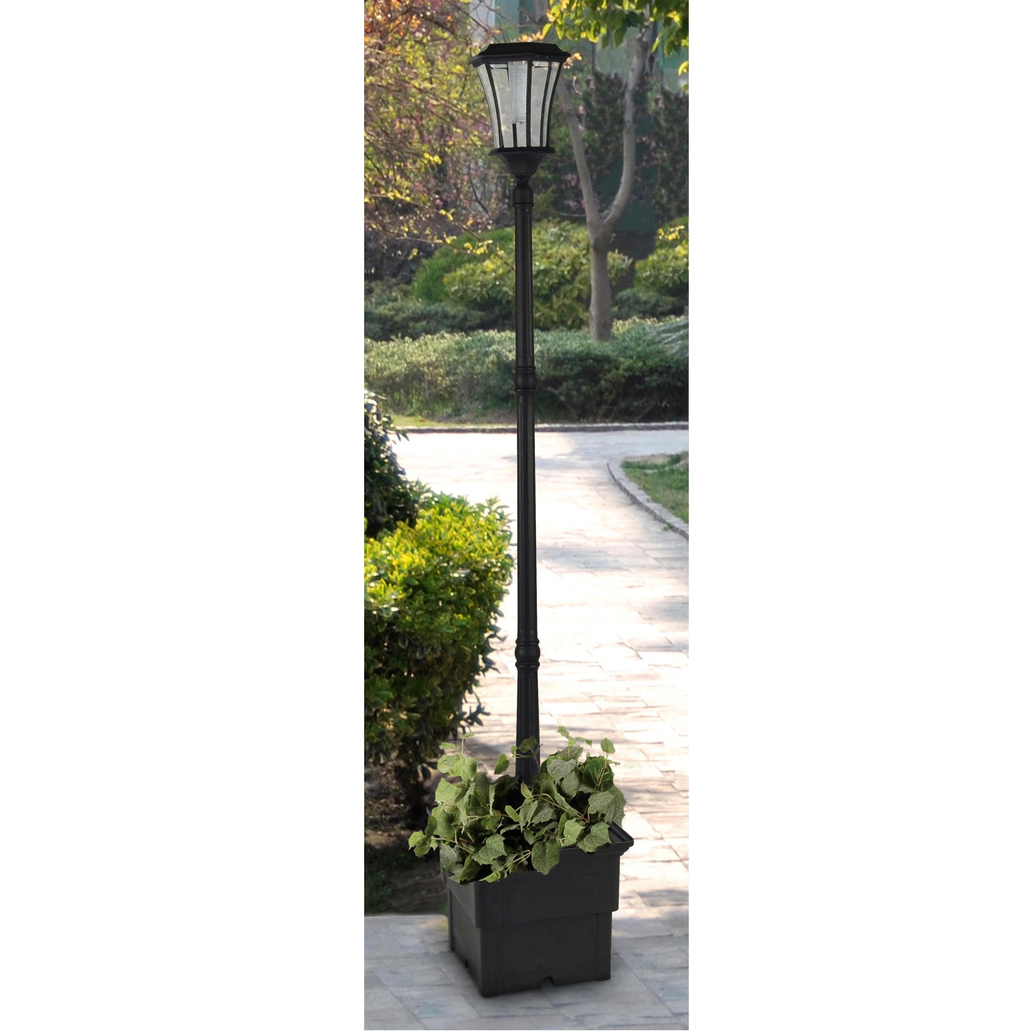 Shop Abigail Solar Lamp Post With Planter Free Shipping Today