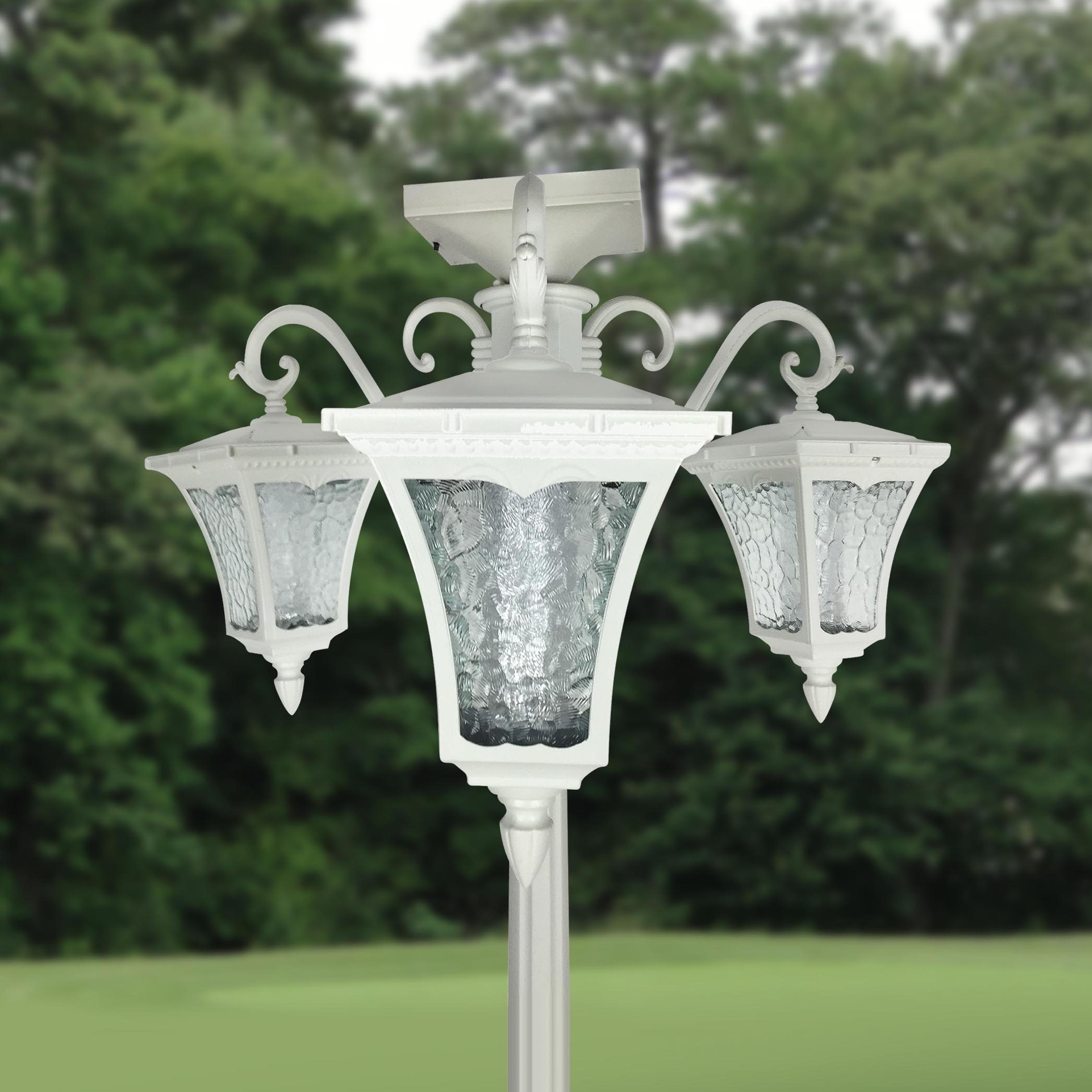 Shop Vittoria Three Head Solar Lamp Post And Planter Free Shipping