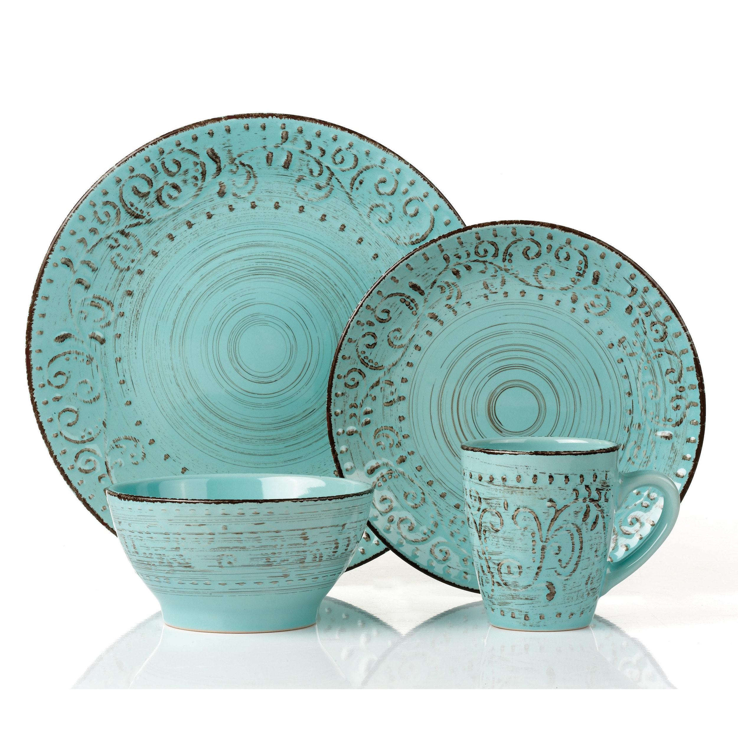Shop Lorren Home Trends Blue/Green Stoneware 16-piece Round ...
