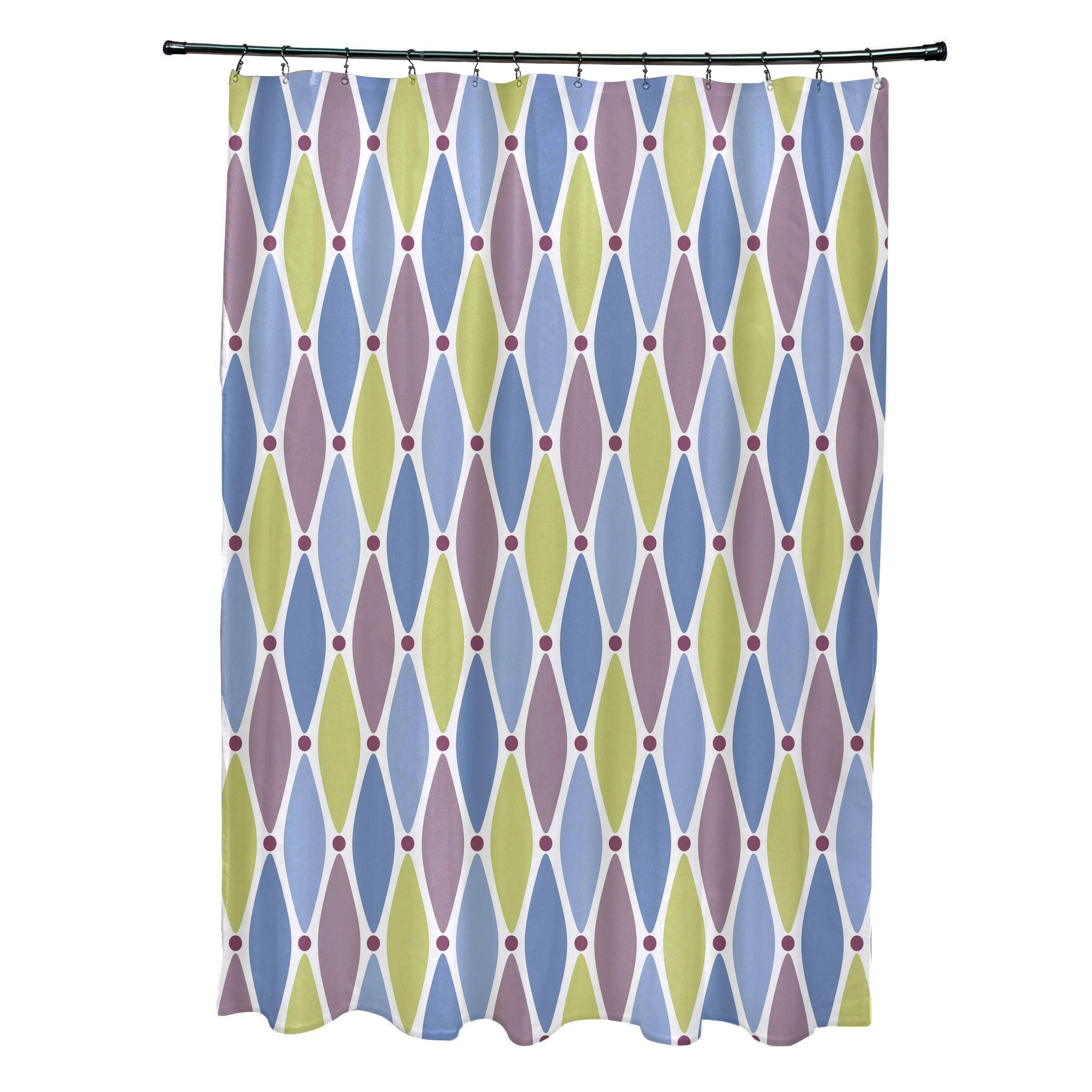 71 x 74-inch Wavy Splash Geometric Print Shower Curtain - Free ...