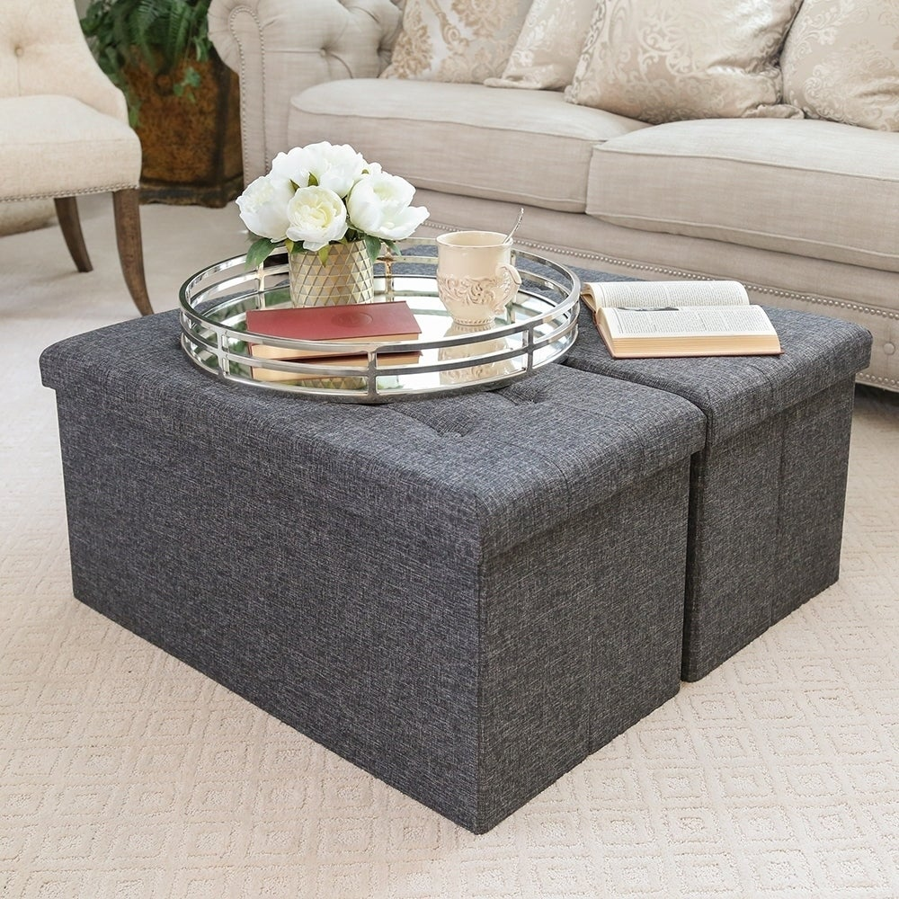 Charcoal Gray Foldable Storage Bench Footrest Coffee Table Ottoman Free Shipping On Orders Over 45 11923683