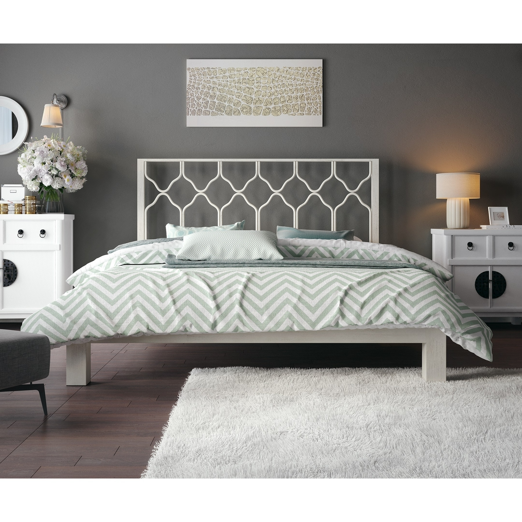 Shop honeycomb white metal headboard and aura platform bed free shipping today overstock com 11928092