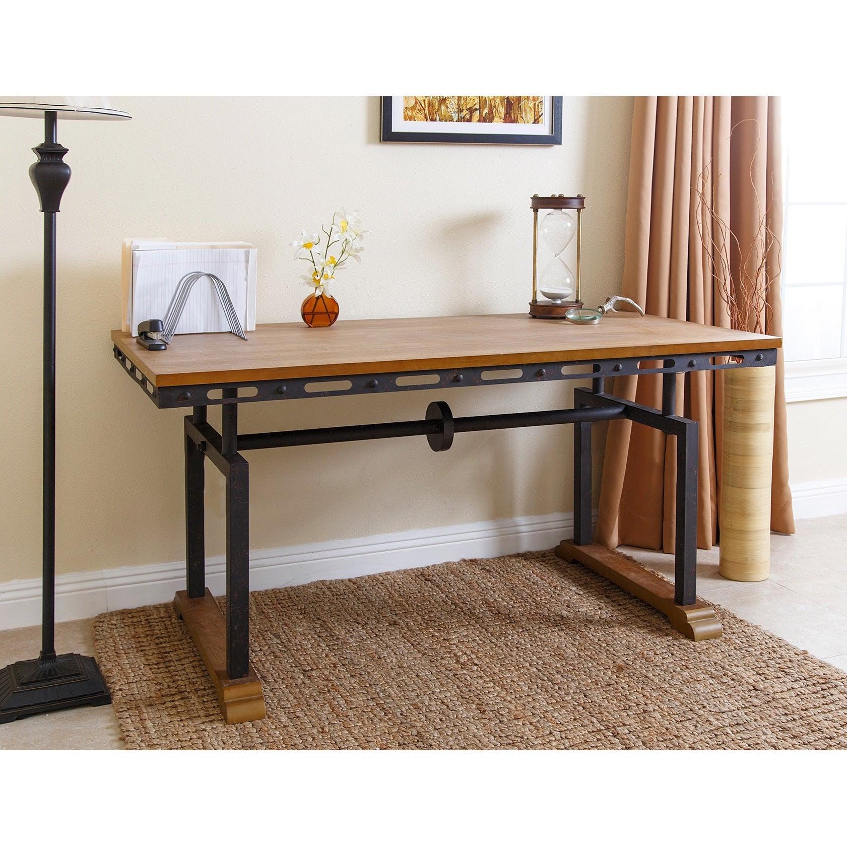 shop abbyson northwood industrial rustic writing desk on sale rh overstock com industrial style writing desk industrial style writing desk