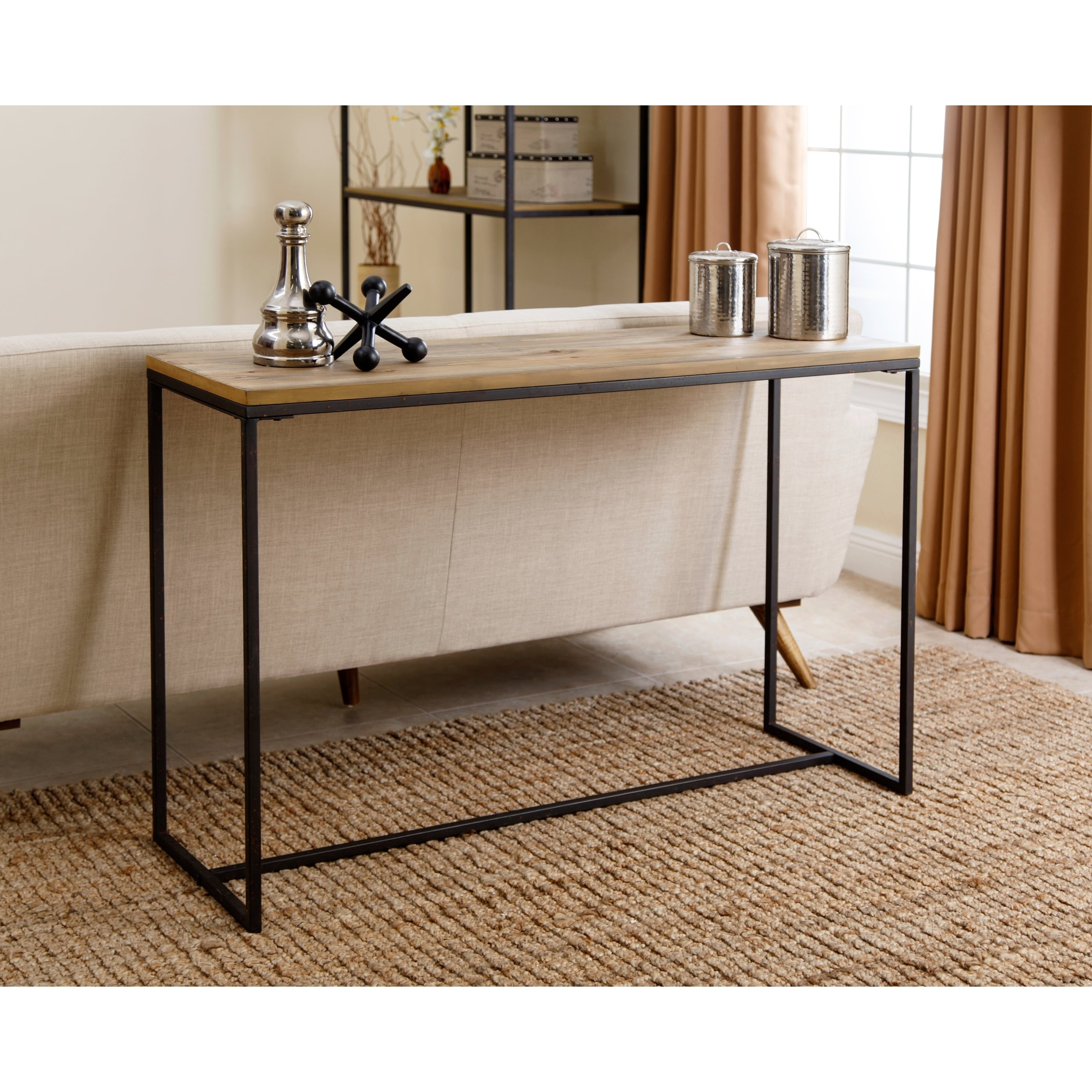 Abbyson Kirkwood Industrial Rustic Sofa Table   Free Shipping Today    Overstock   18817907