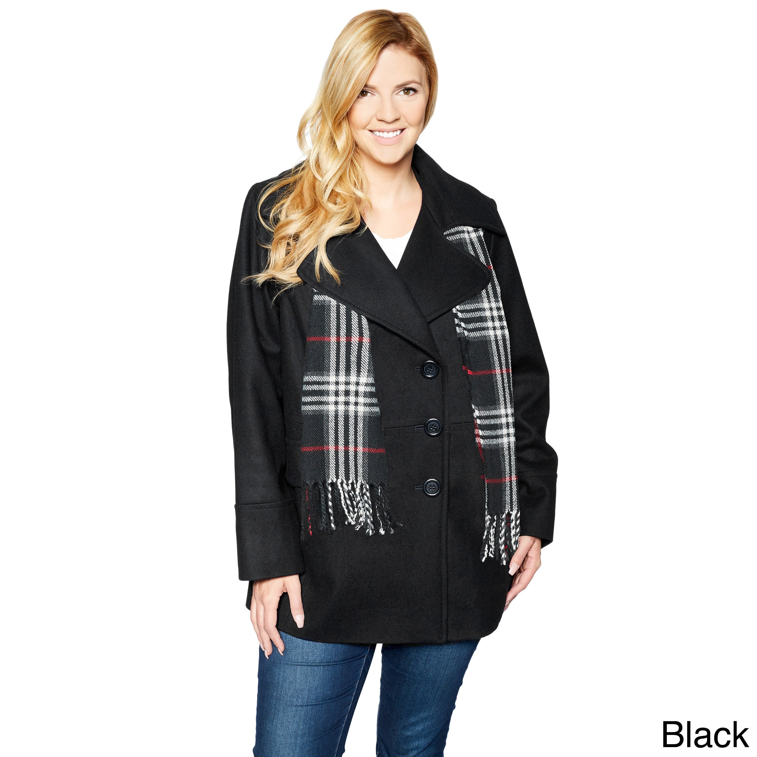 London Fog Women S Plus Size Double Ted Peacoat With Scarf Free Shipping On Orders Over 45 11934574