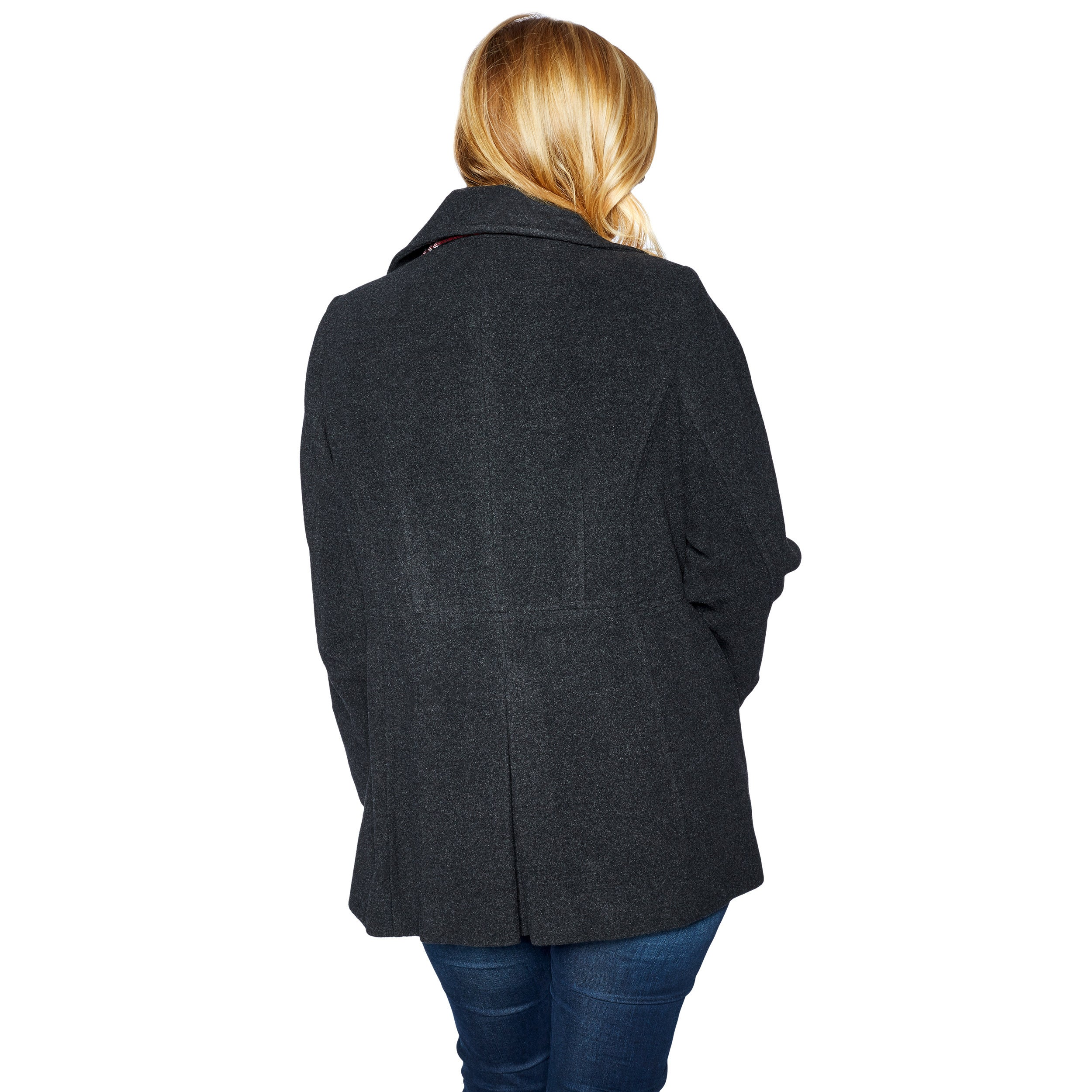 01afcc11f Shop London Fog Women s Plus Size Double Breasted Peacoat with Scarf ...