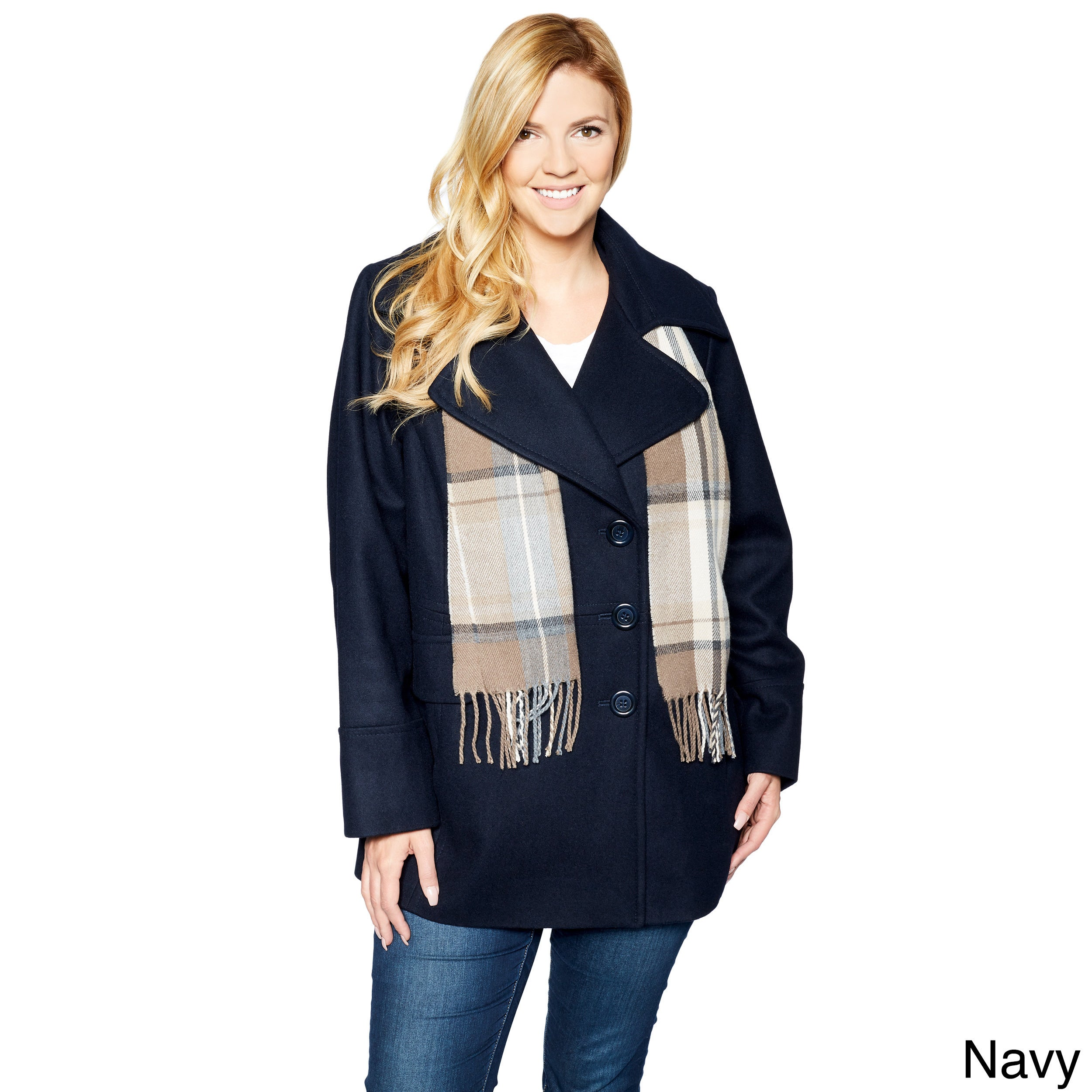 53c422e0168 Shop London Fog Women s Plus Size Double Breasted Peacoat with Scarf ...