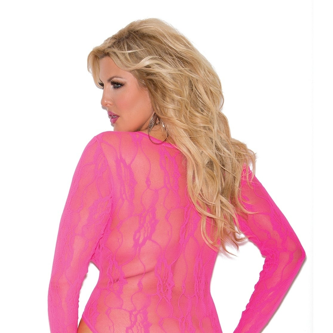 ff98586fd Shop Elegant Moments Plus Size nylon stretch lace deep-V long-sleeve teddy  - On Sale - Free Shipping On Orders Over  45 - Overstock.com - 11934903