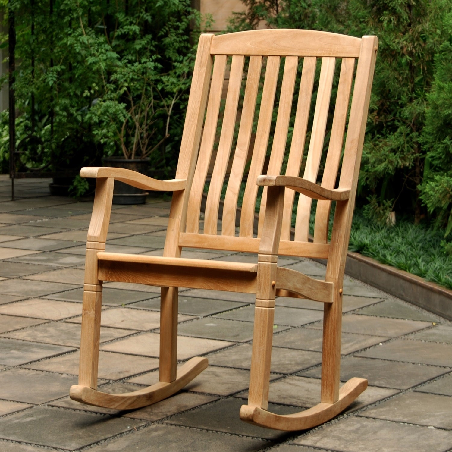Shop Cambridge Casual Sherwood Natural Teak Porch Rocking Chair   Free  Shipping Today   Overstock.com   11935088