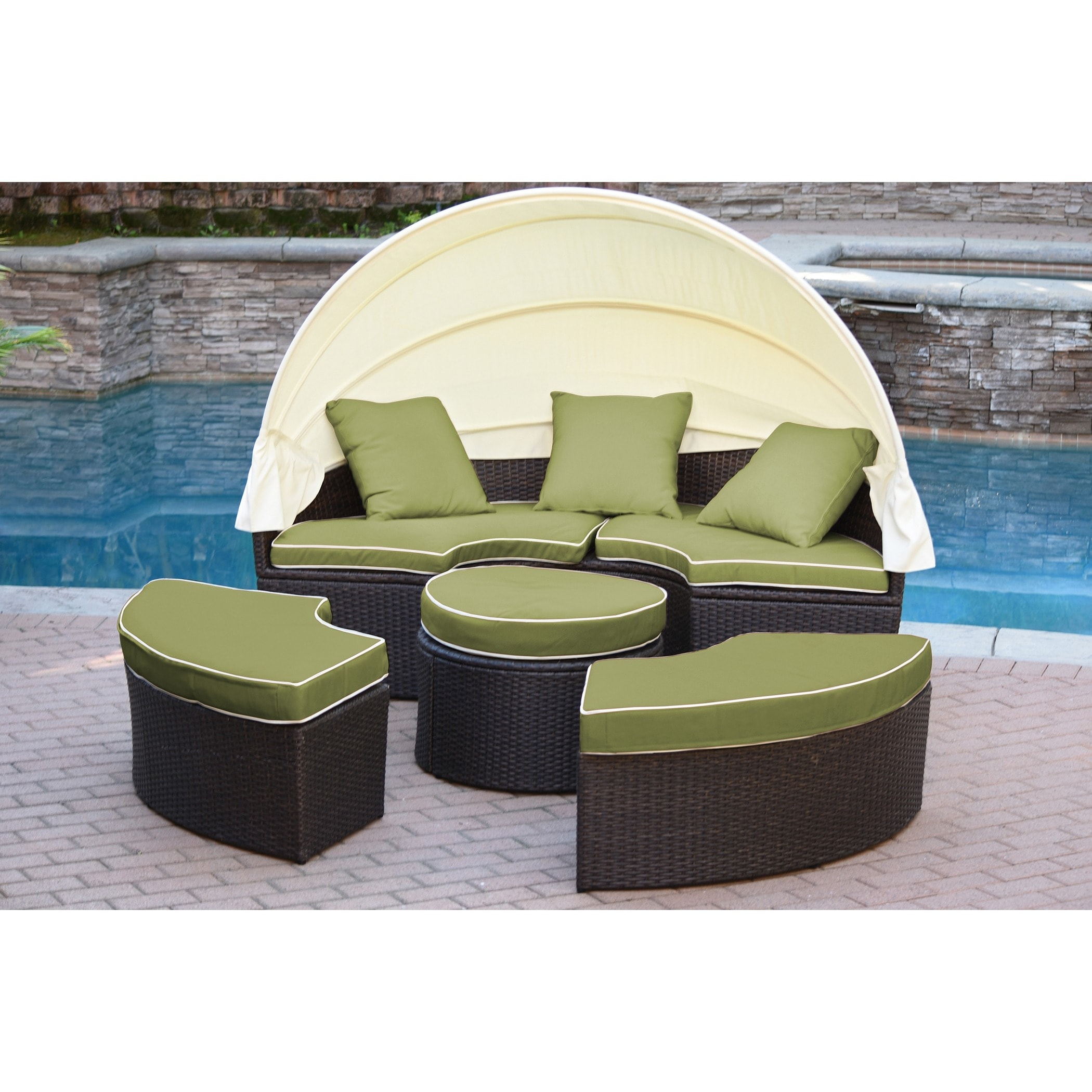 Jeco Resin Wicker All Weather 4 Piece Sectional Daybed With Cushions On Free Shipping Today 11936613