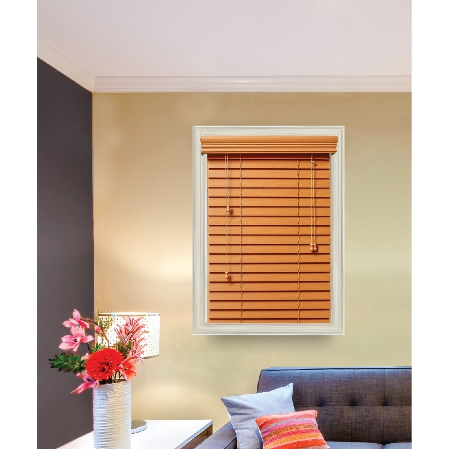 on home garden product wood over window overstock inch to free shipping wide faux blinds white orders