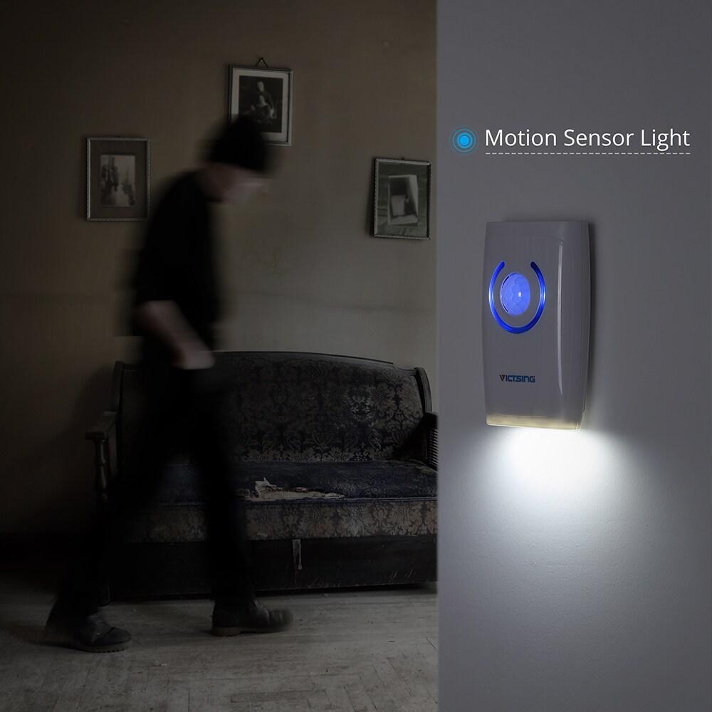 shop white abs wireless doorbell motion sensor emergency light pir