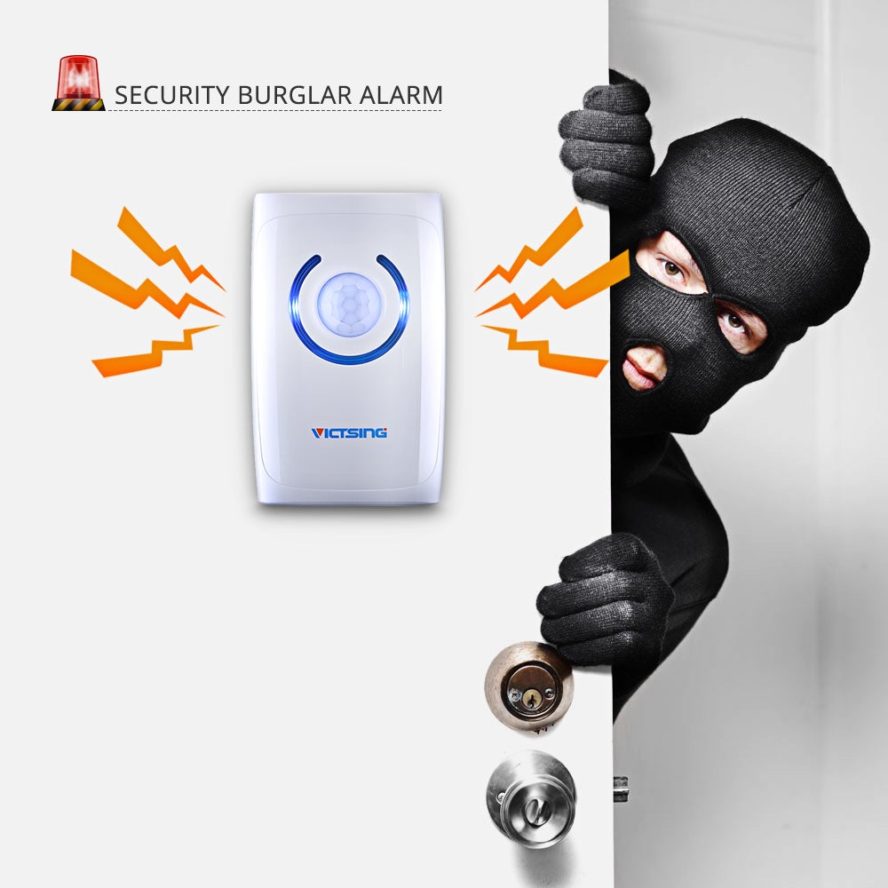Shop White Abs Wireless Doorbell Motion Sensor Emergency Light Pir And Alarm 100 Meter Security Burglar With 36 Chimes On Sale Free Shipping