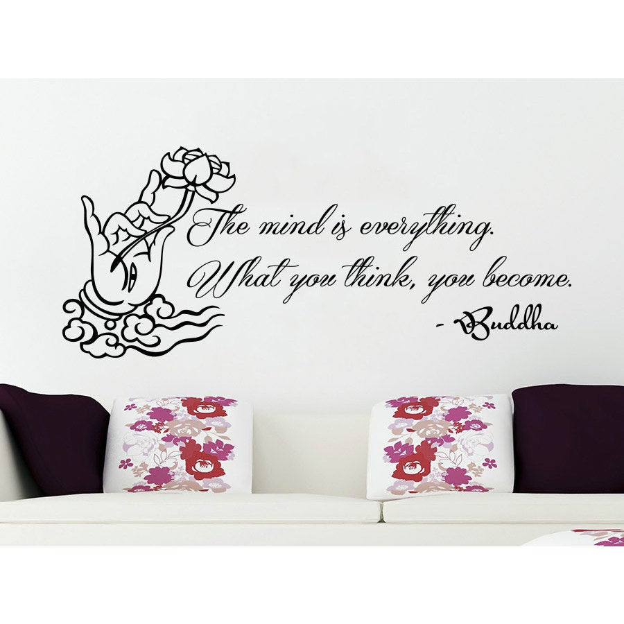 Shop Quote Lotus Flower Yoga Buddha The Mind Is Everything What You