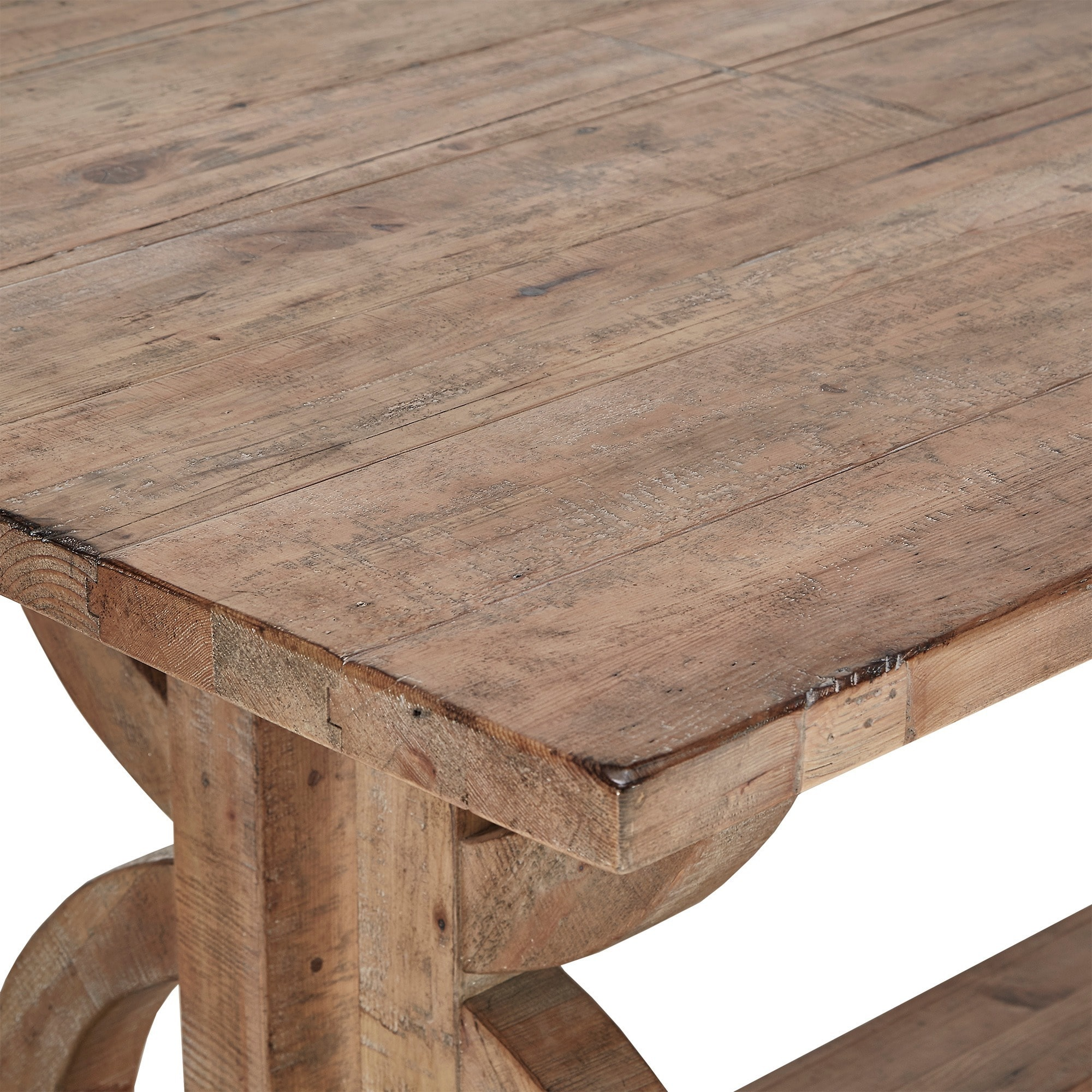 Paloma Salvaged Reclaimed Pine Wood Rectangular Trestle Table by