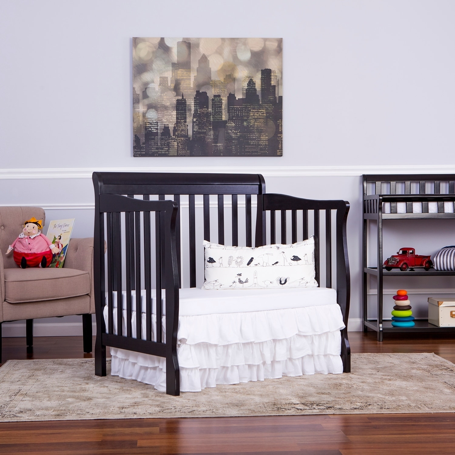 Dream On Me Aden Convertible 4 In 1 Mini Crib Black Free Shipping Today 11951665