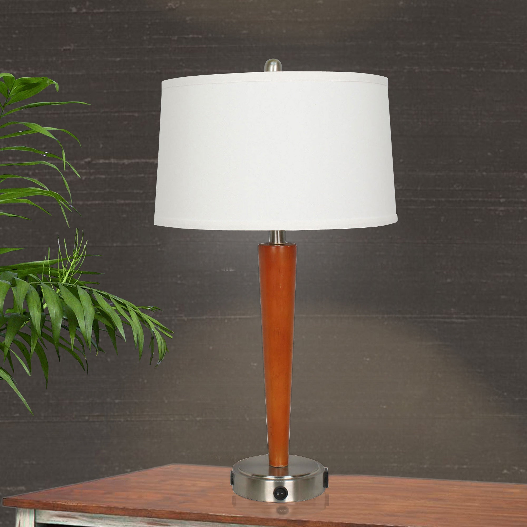Shop 27 5 Inch Brushed Steel Metal Cherry Wood Tech Table Lamp